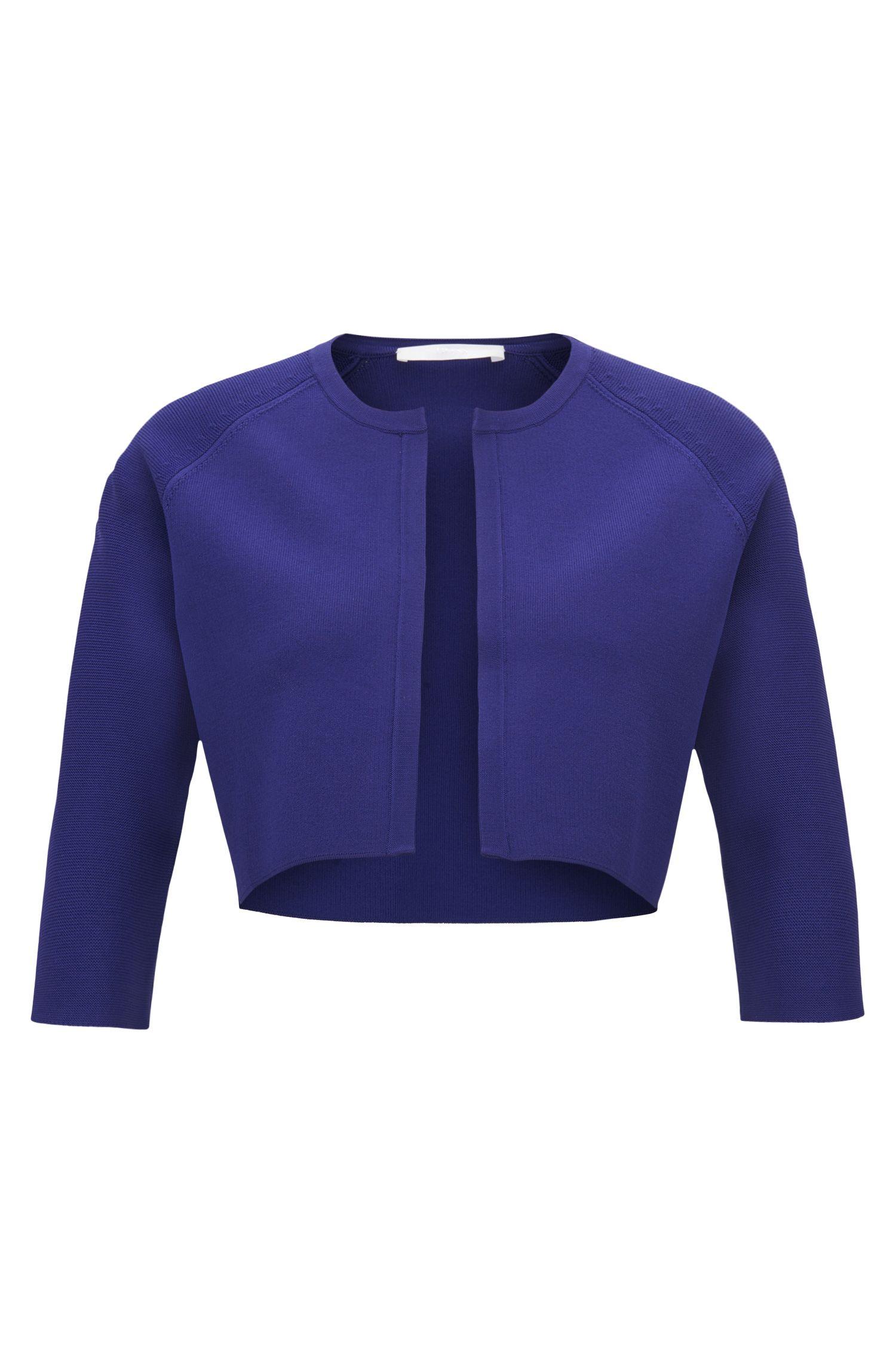 Regular-fit cropped jacket in stretch yarn, Open Purple