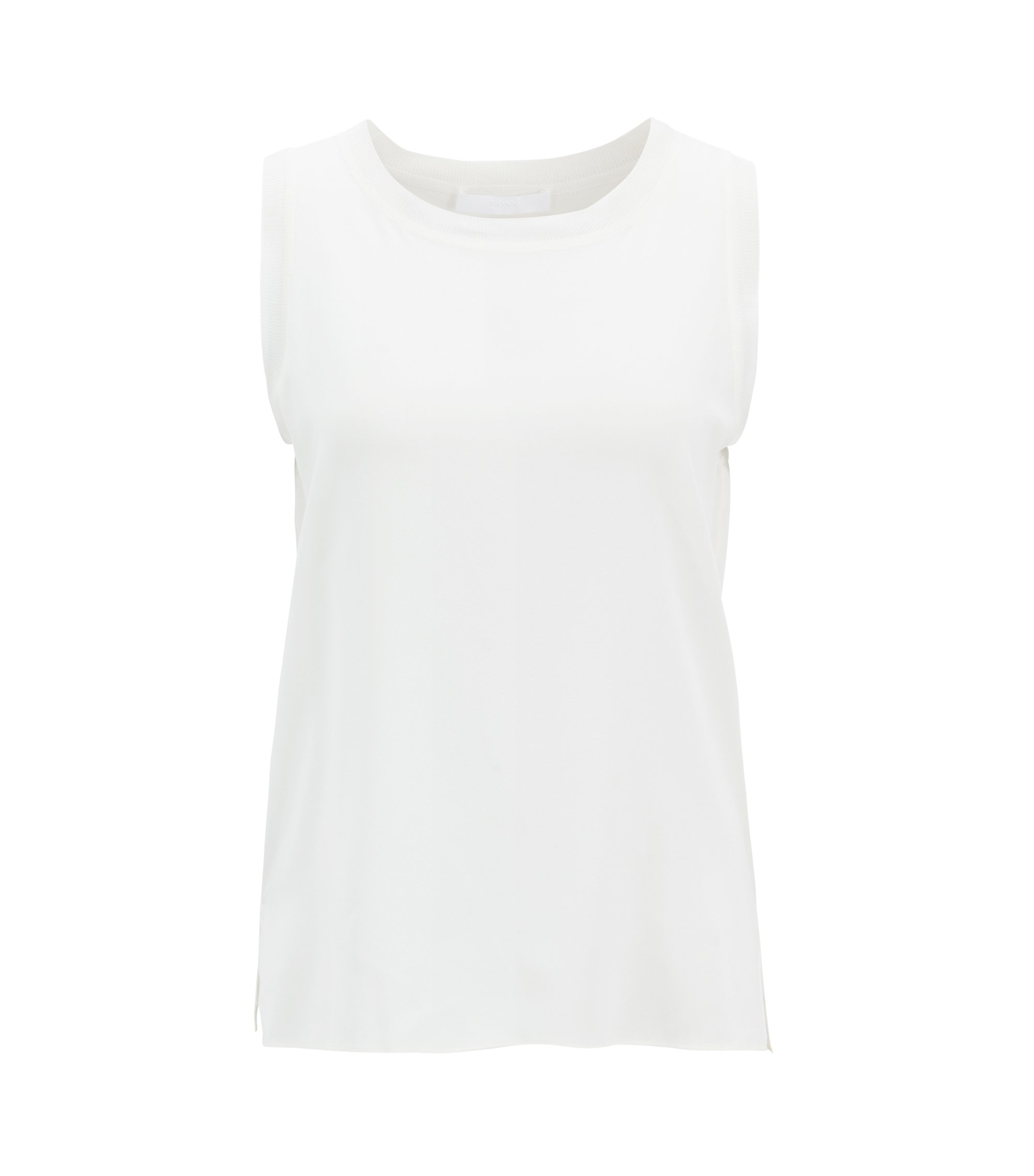 Sleeveless top in stretch silk with knitted details, Natural