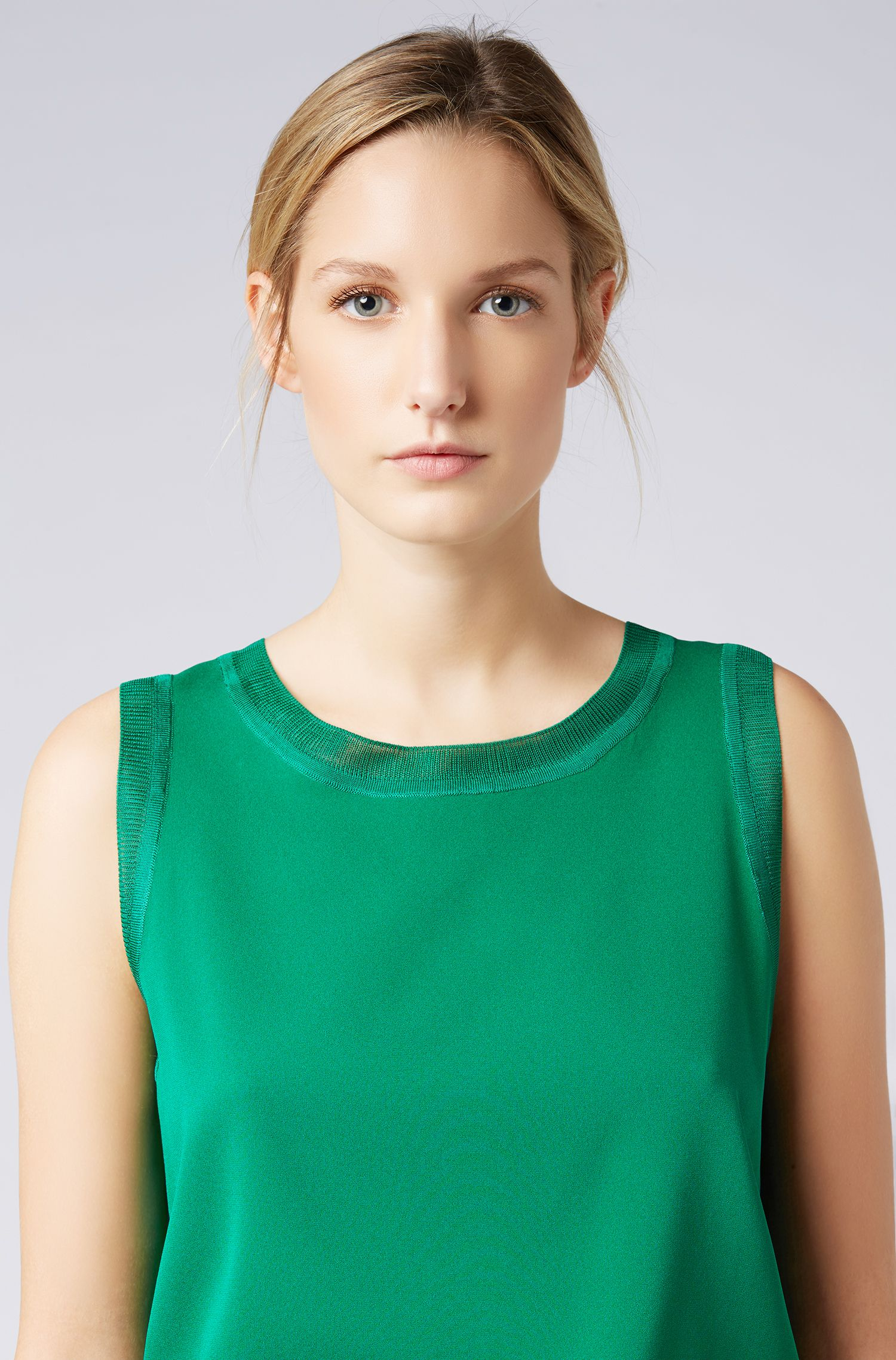 Sleeveless top in stretch silk with knitted details, Open Green
