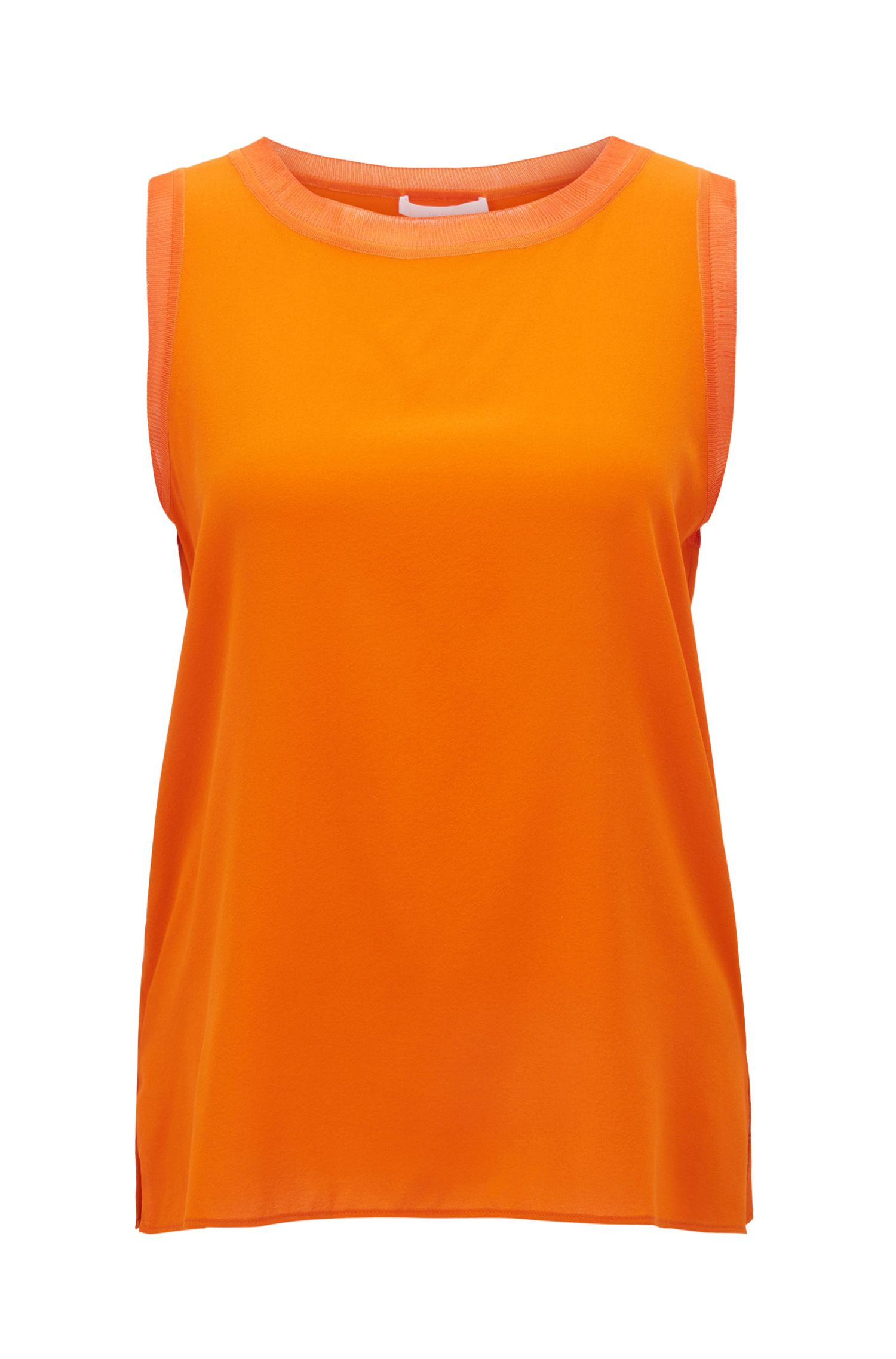 Sleeveless top in stretch silk with knitted details, Orange