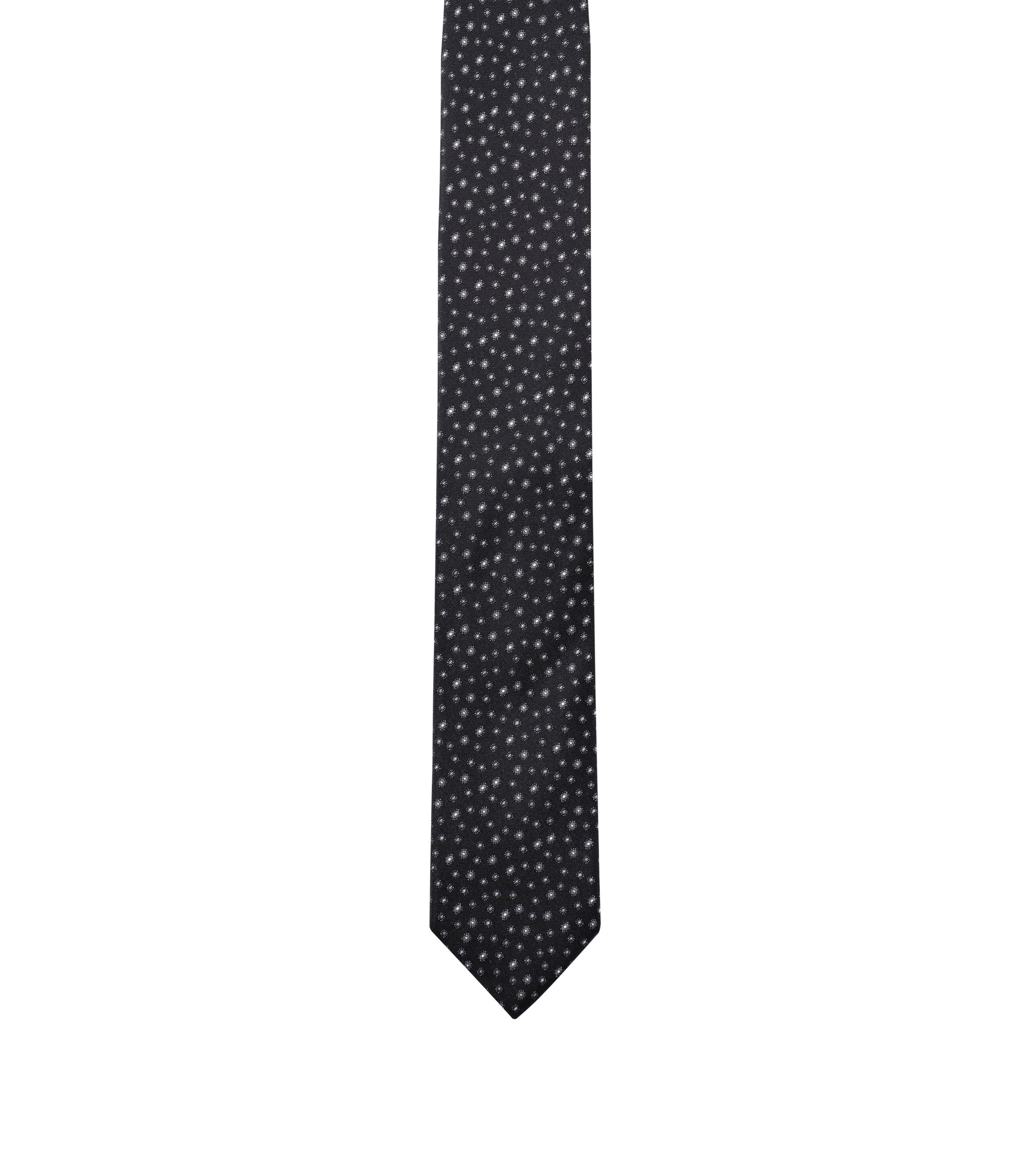 Patterned tie in silk jacquard, Black
