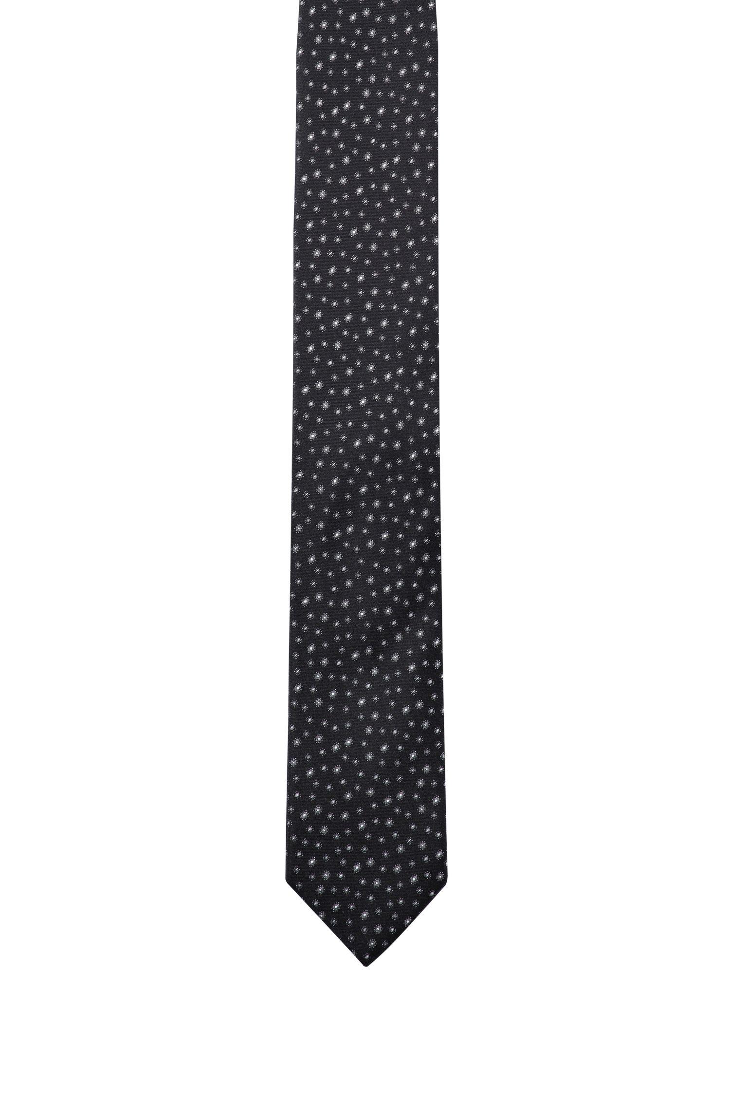 Patterned tie in silk jacquard, Black