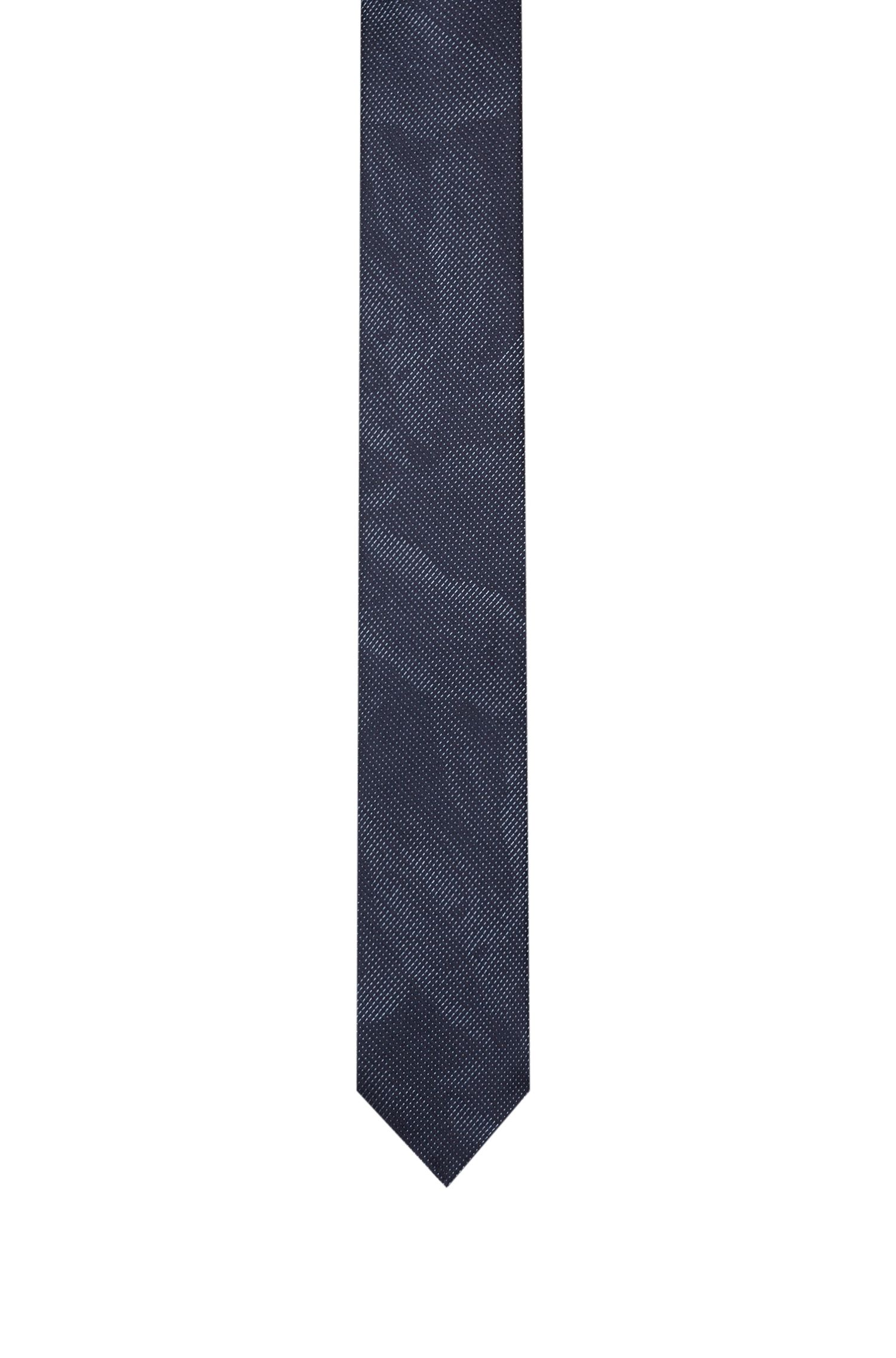 Patterned tie in silk jacquard, Dark Blue