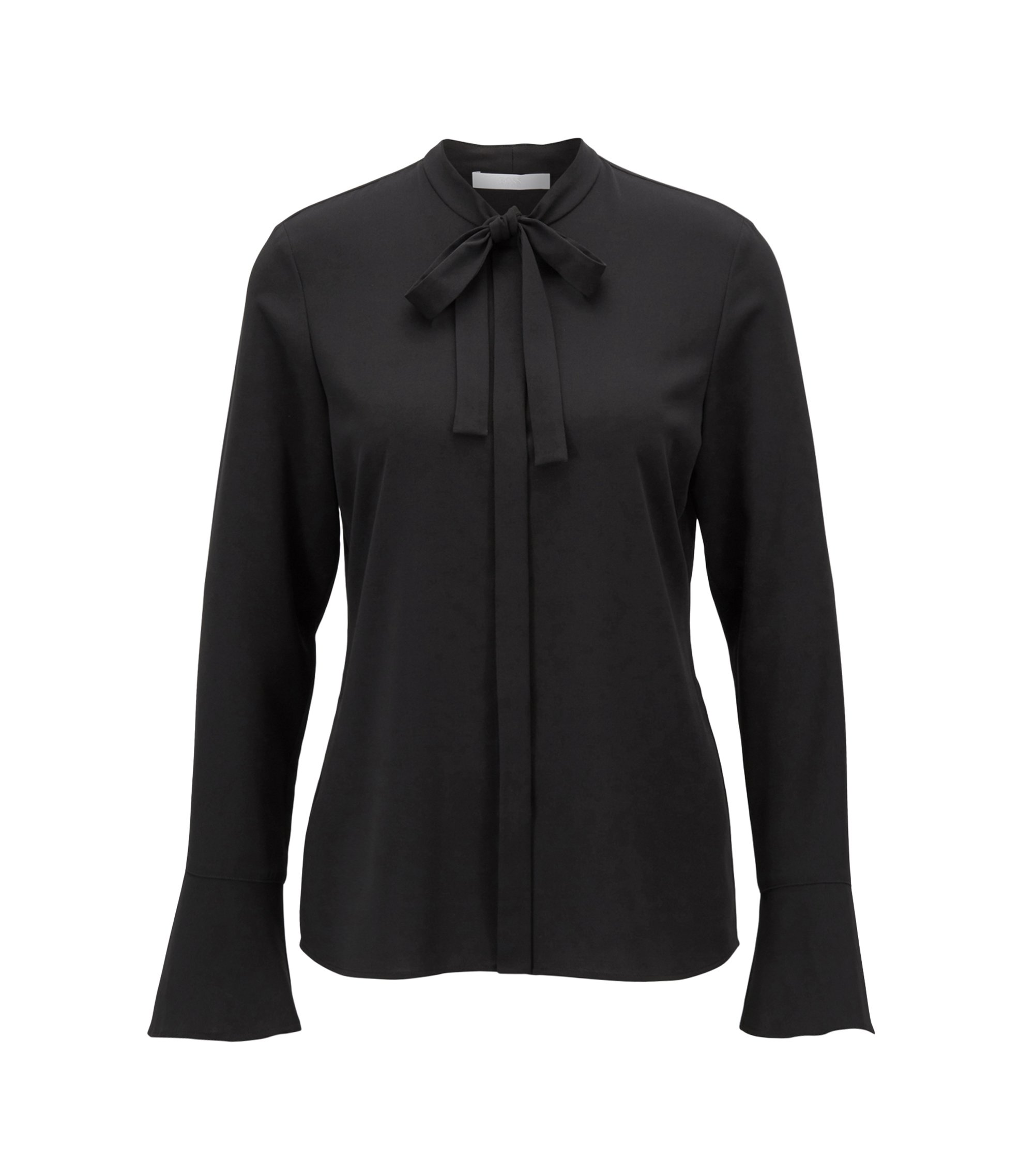 Bow-collar blouse in stretch crinkled crepe, Black