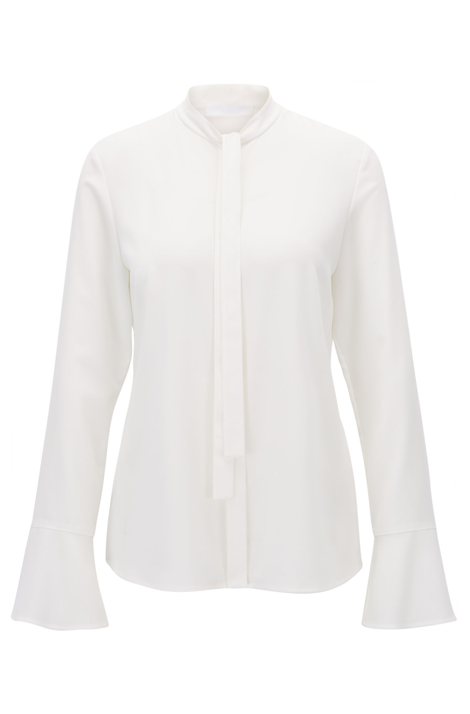 Bow-collar blouse in stretch crinkled crepe