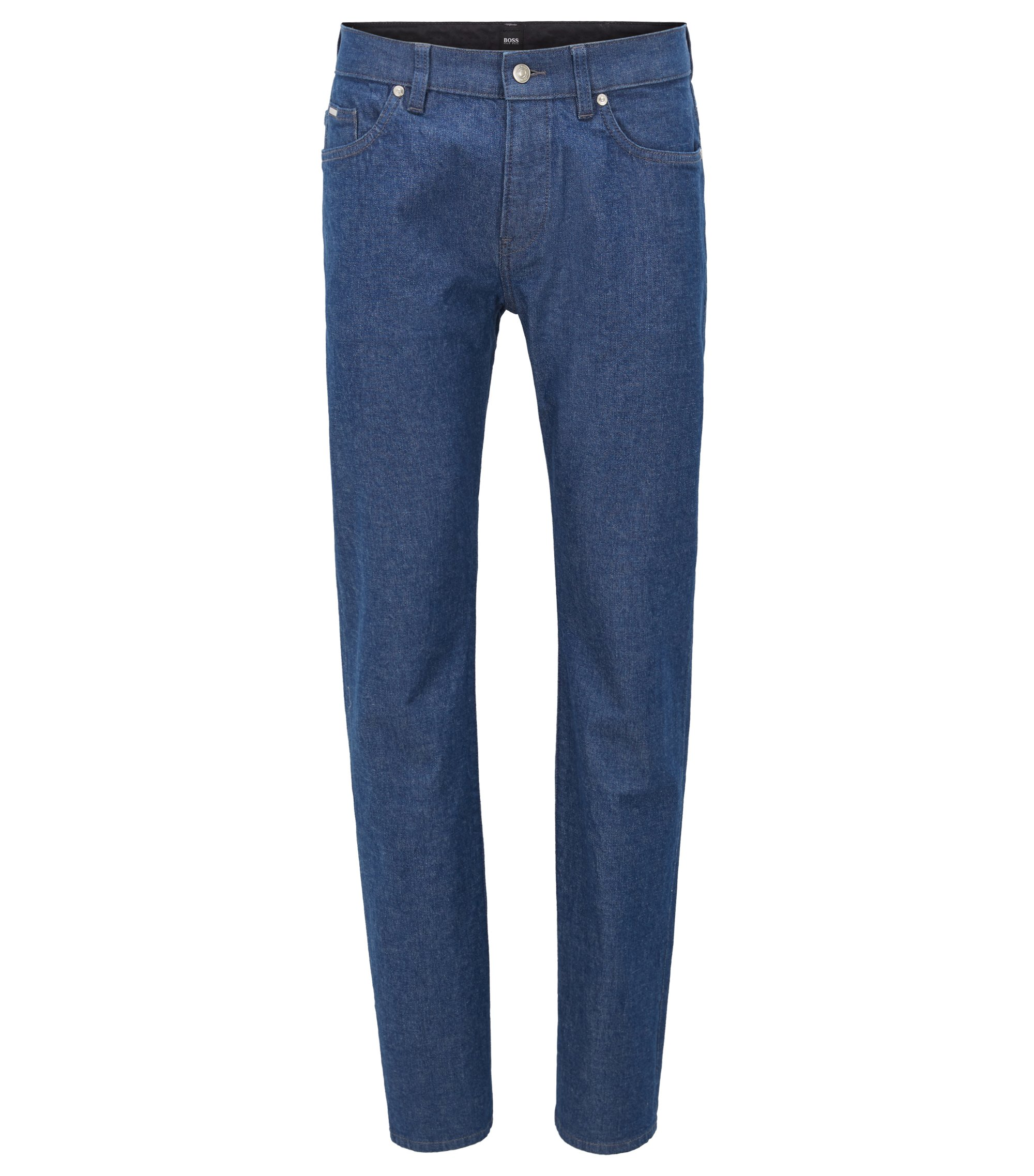 Slim-fit jeans in stonewashed stretch denim, Dark Blue