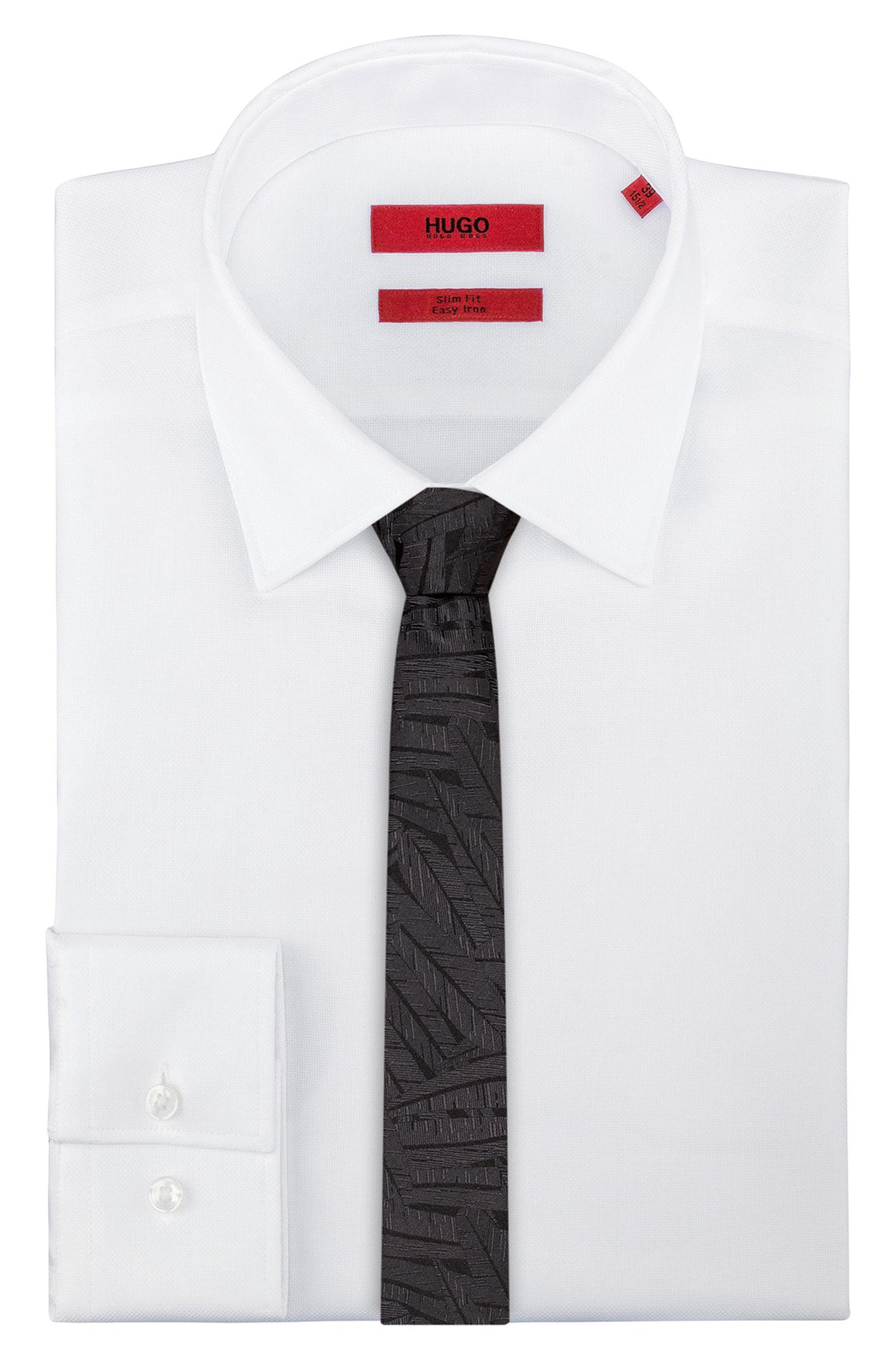 Textured tie in silk jacquard, Black