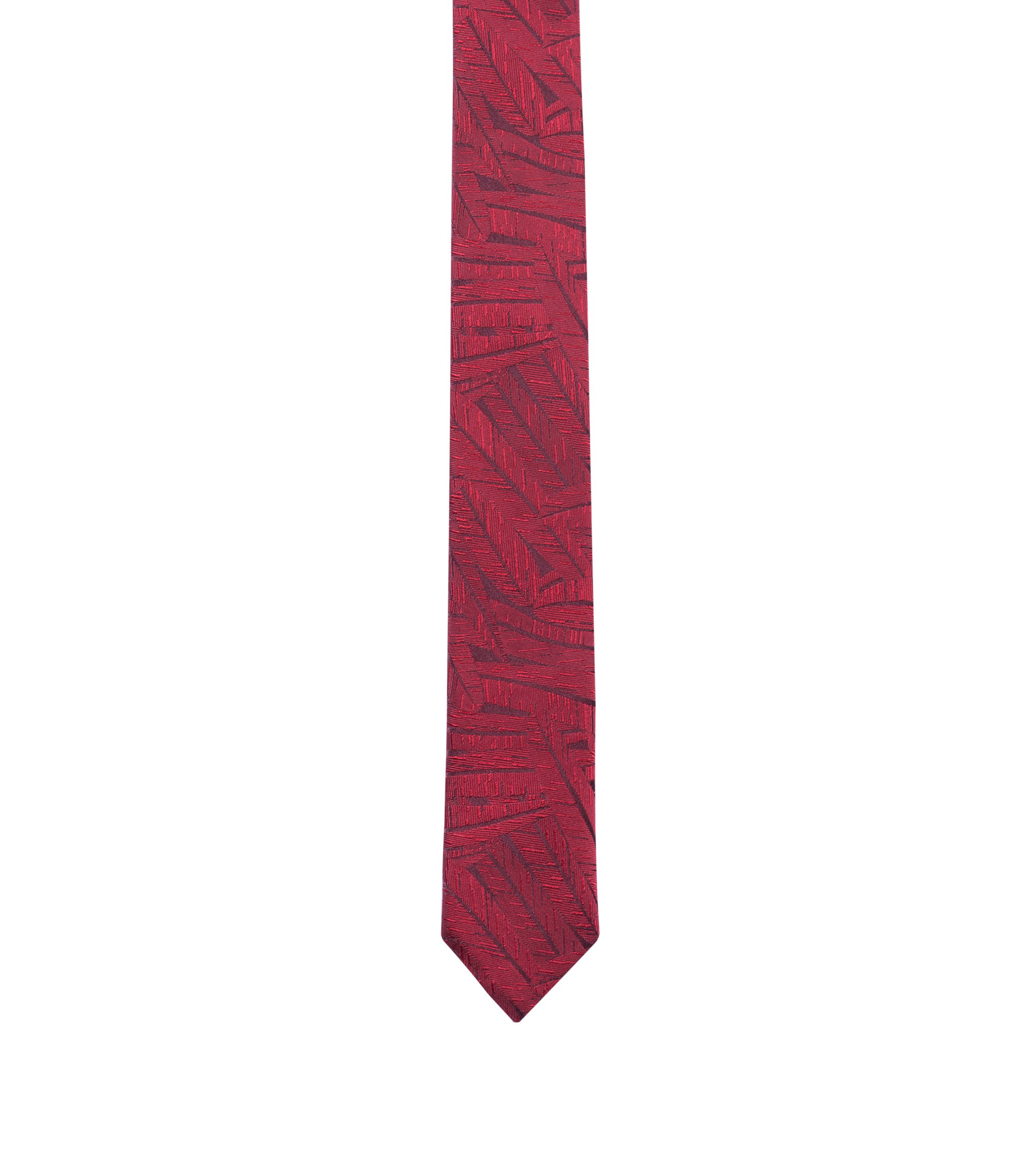 Textured tie in silk jacquard, Open Red