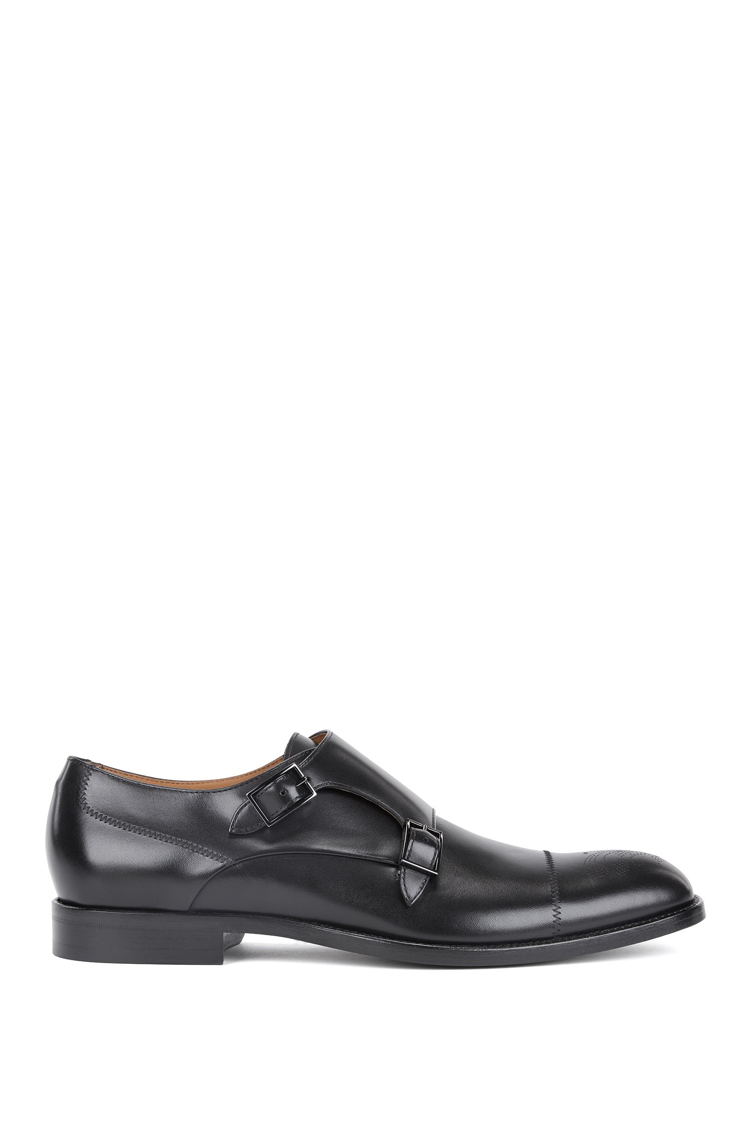 Polished calf-leather shoes with double monk strap