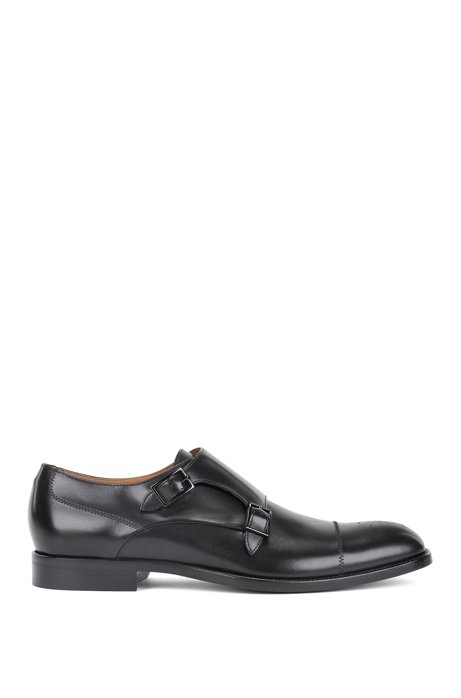 Polished calf-leather shoes with double monk strap BOSS CIBZp