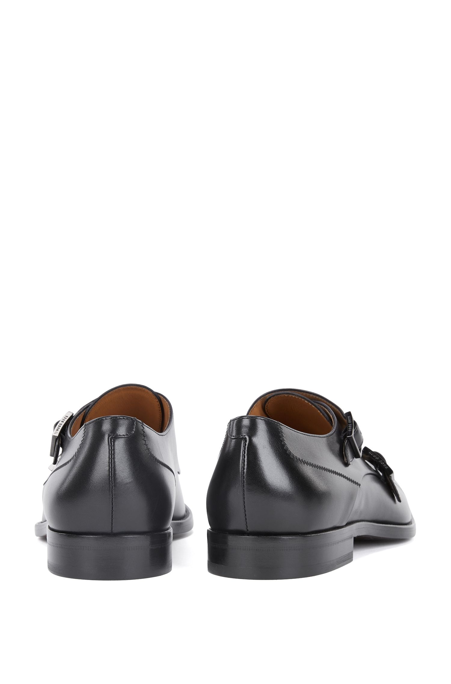 Polished calf-leather shoes with double monk strap, Black