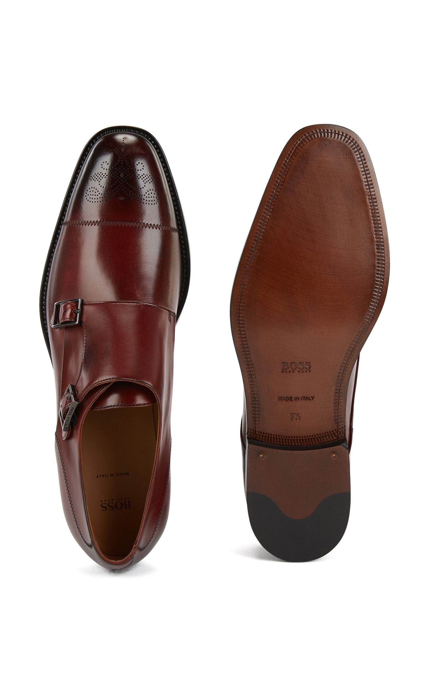Polished calf-leather shoes with double monk strap, Red