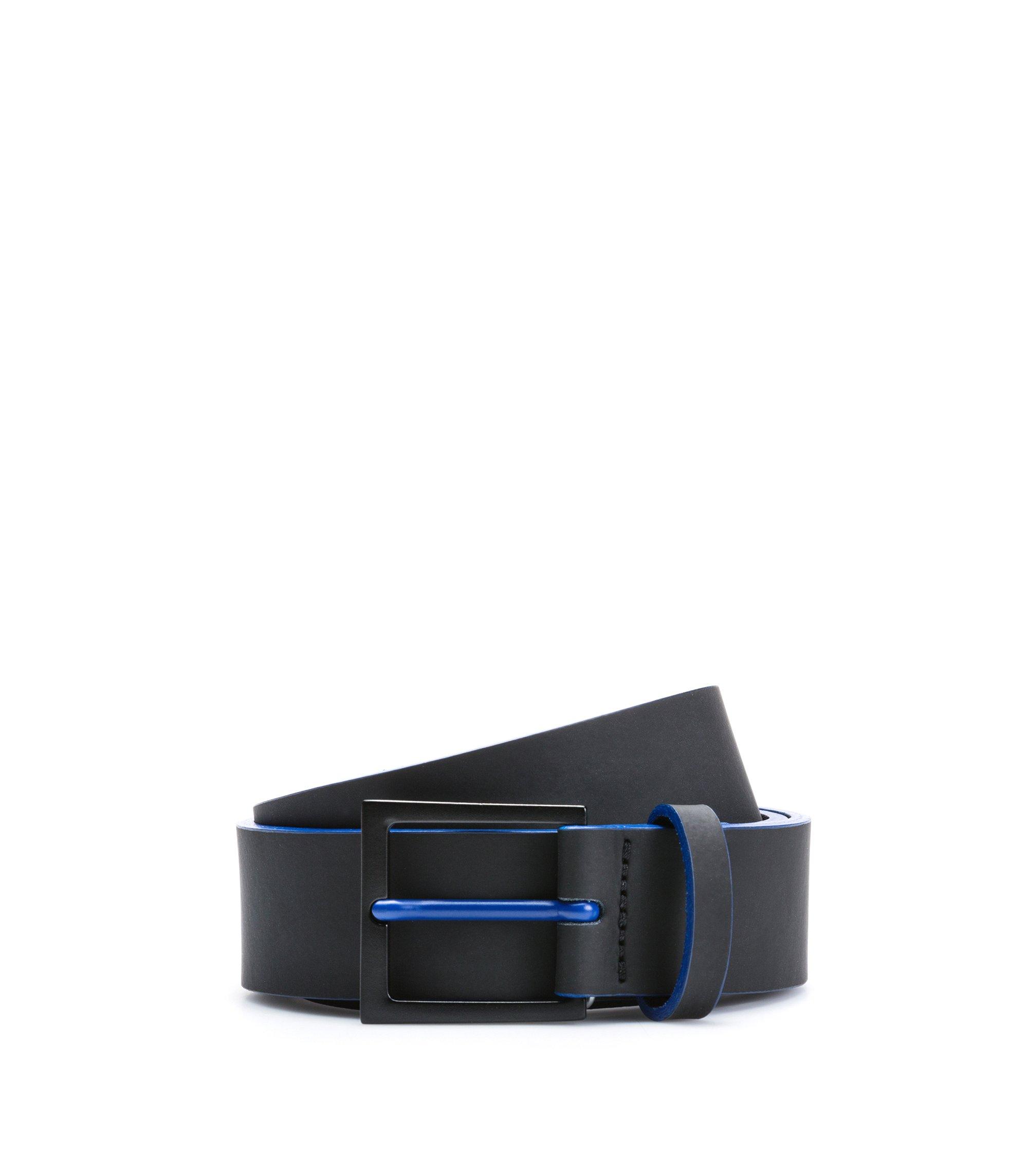Rubberized-leather belt with matte black hardware, Black