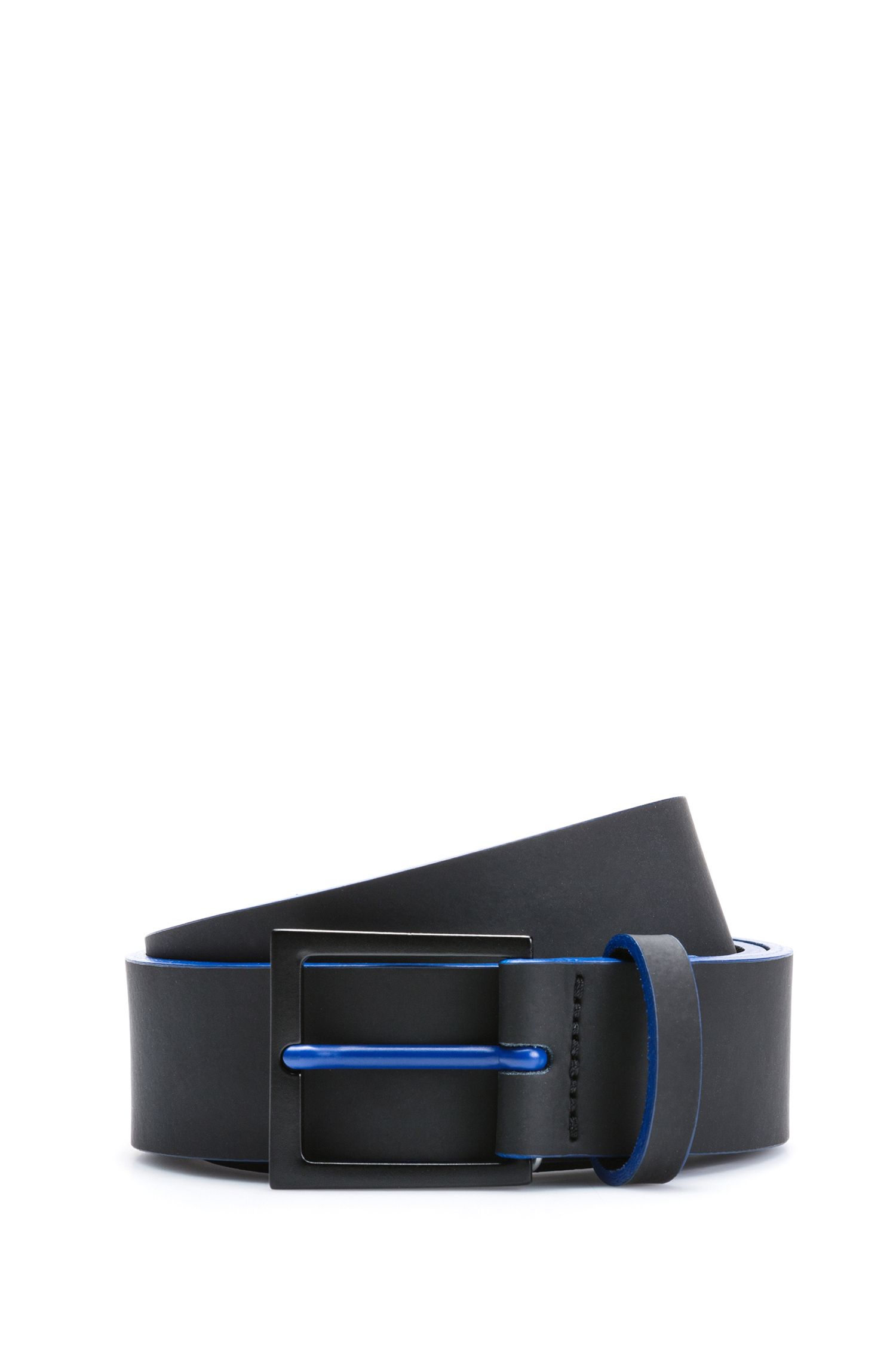 Rubberized-leather belt with matte black hardware, Black