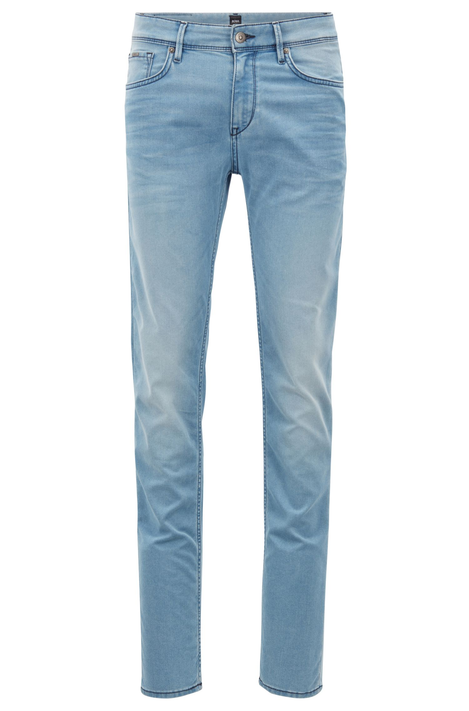 Extra-slim-fit jeans in Italian stretch denim, Turquoise