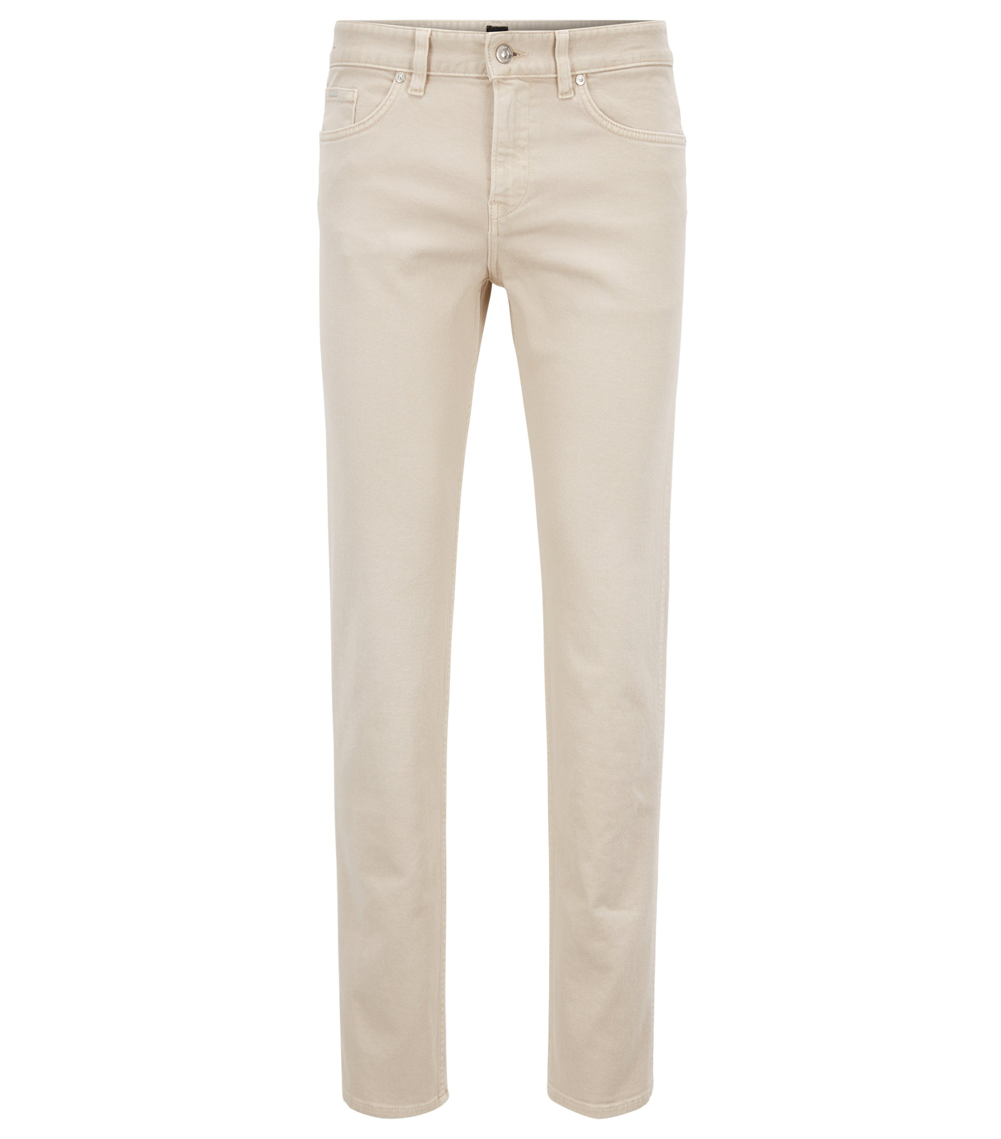 Slim-fit jeans in colored stretch denim, Light Beige