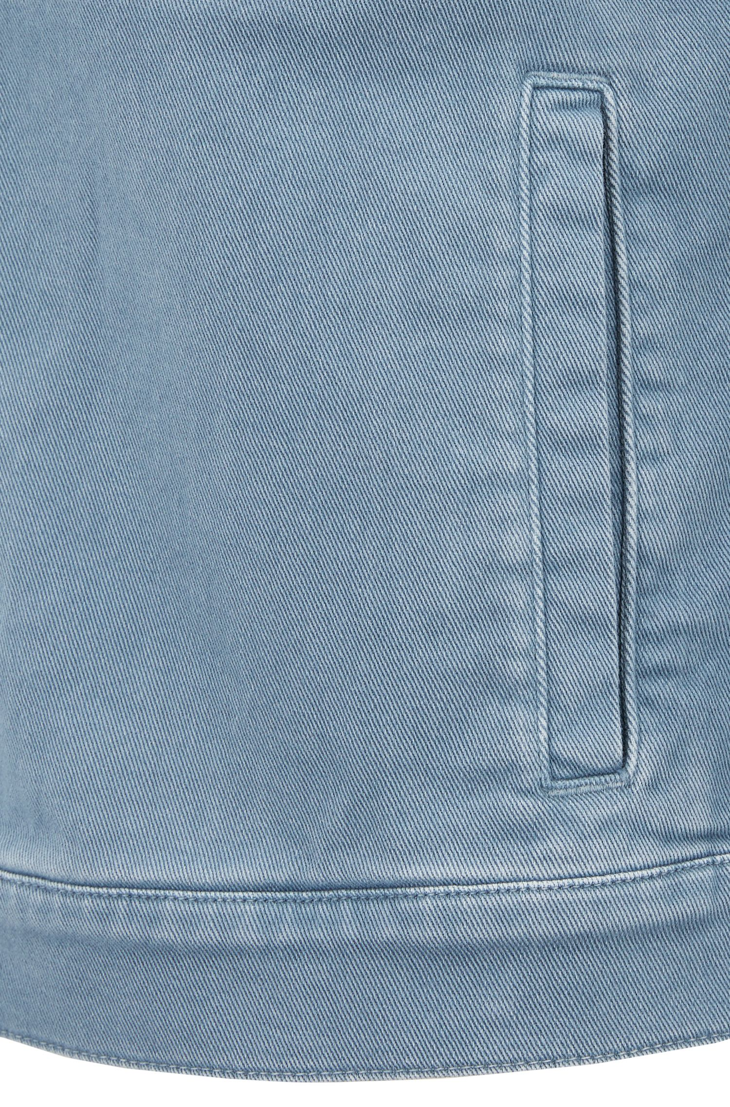 Fitted jacket in colored stretch denim, Open Blue
