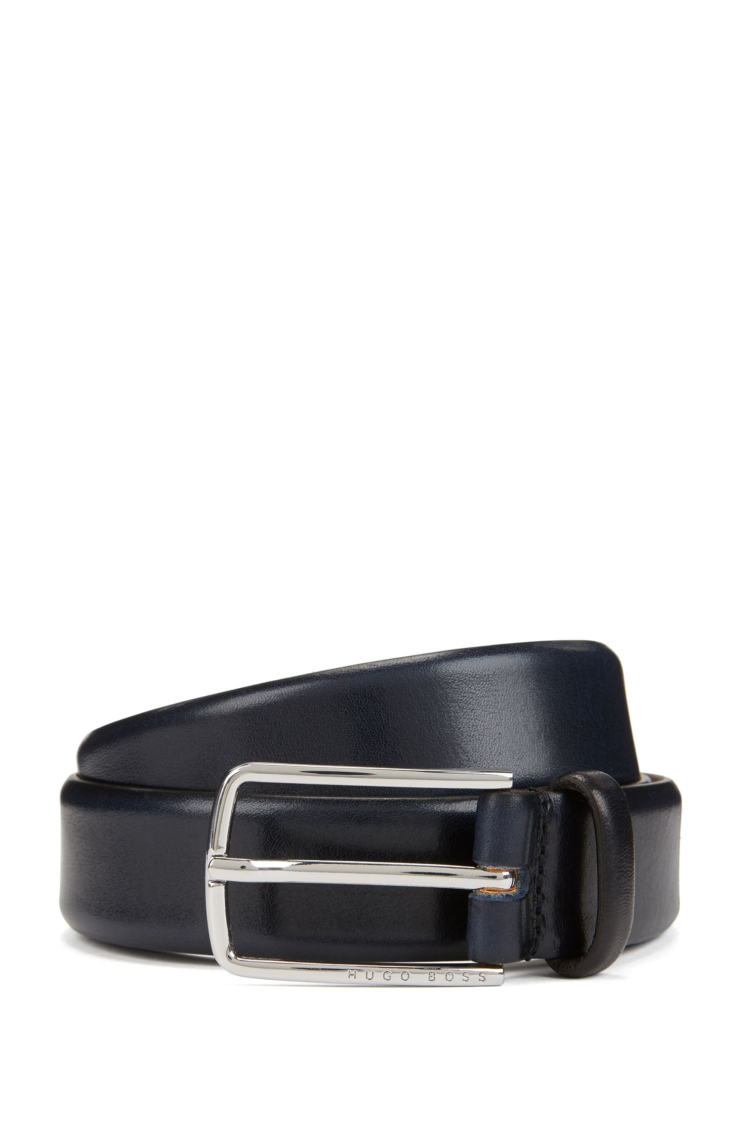 Vegetable-tanned leather belt with signature buckle, Dark Blue