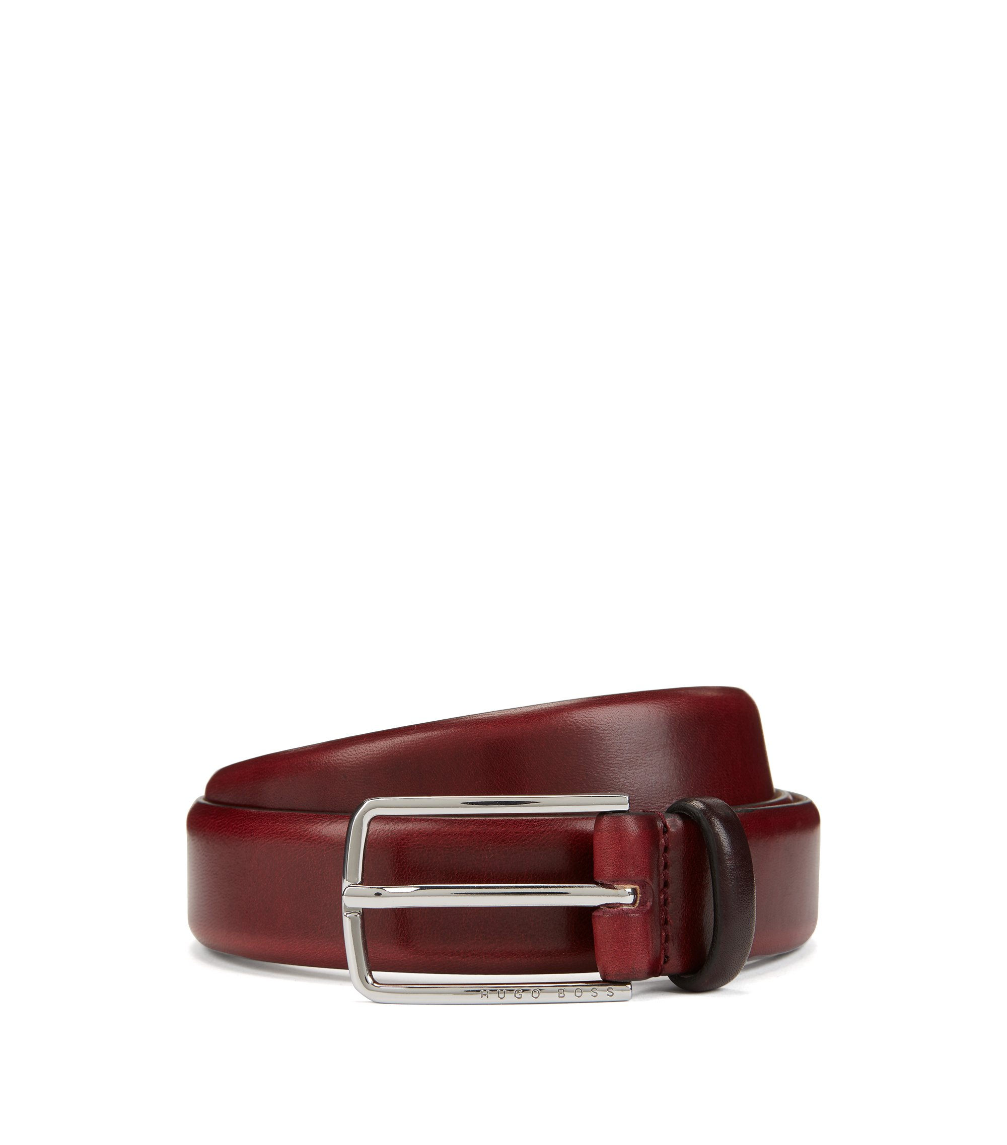 Vegetable-tanned leather belt with signature buckle, Red