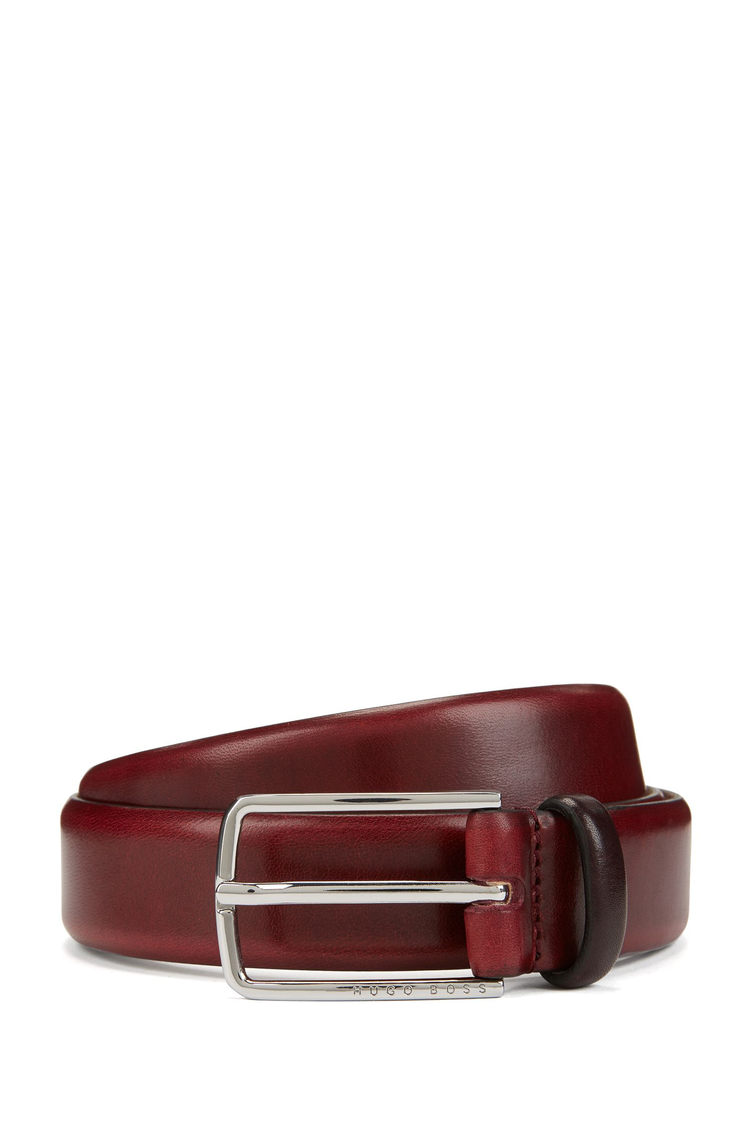 Vegetable-tanned leather belt with signature buckle