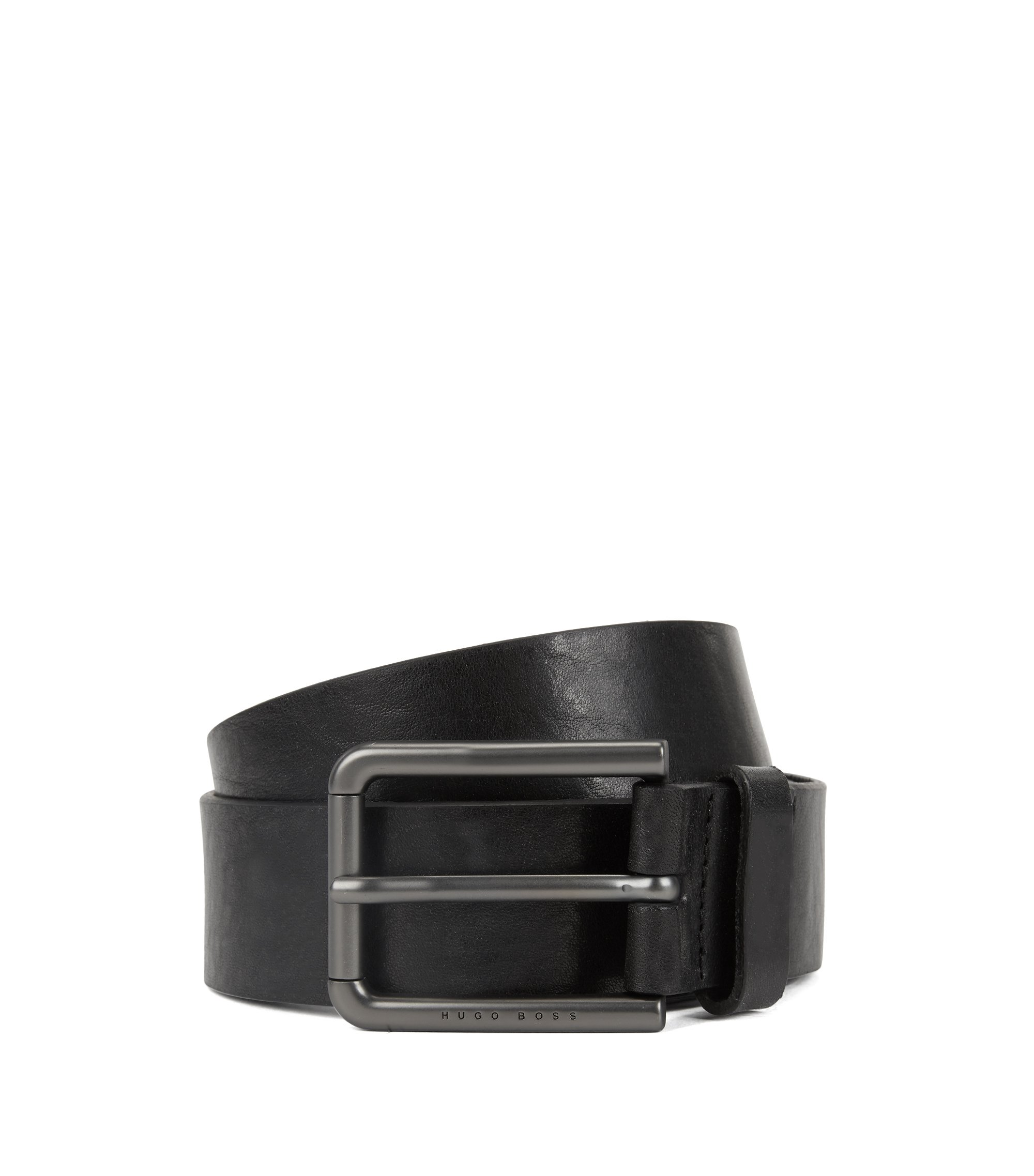 Italian leather belt with gunmetal roller buckle, Black