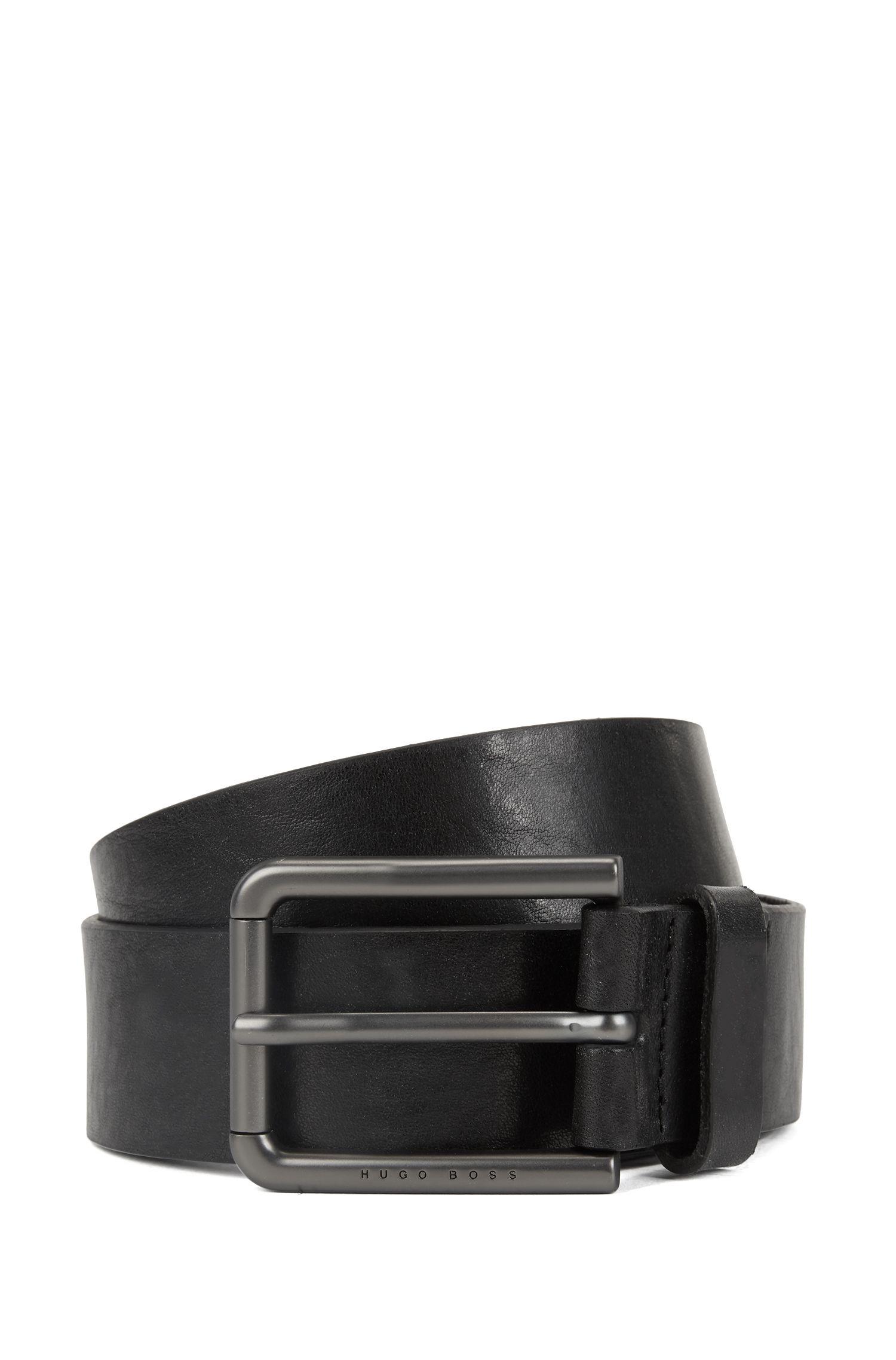 Italian leather belt with gunmetal roller buckle, Black