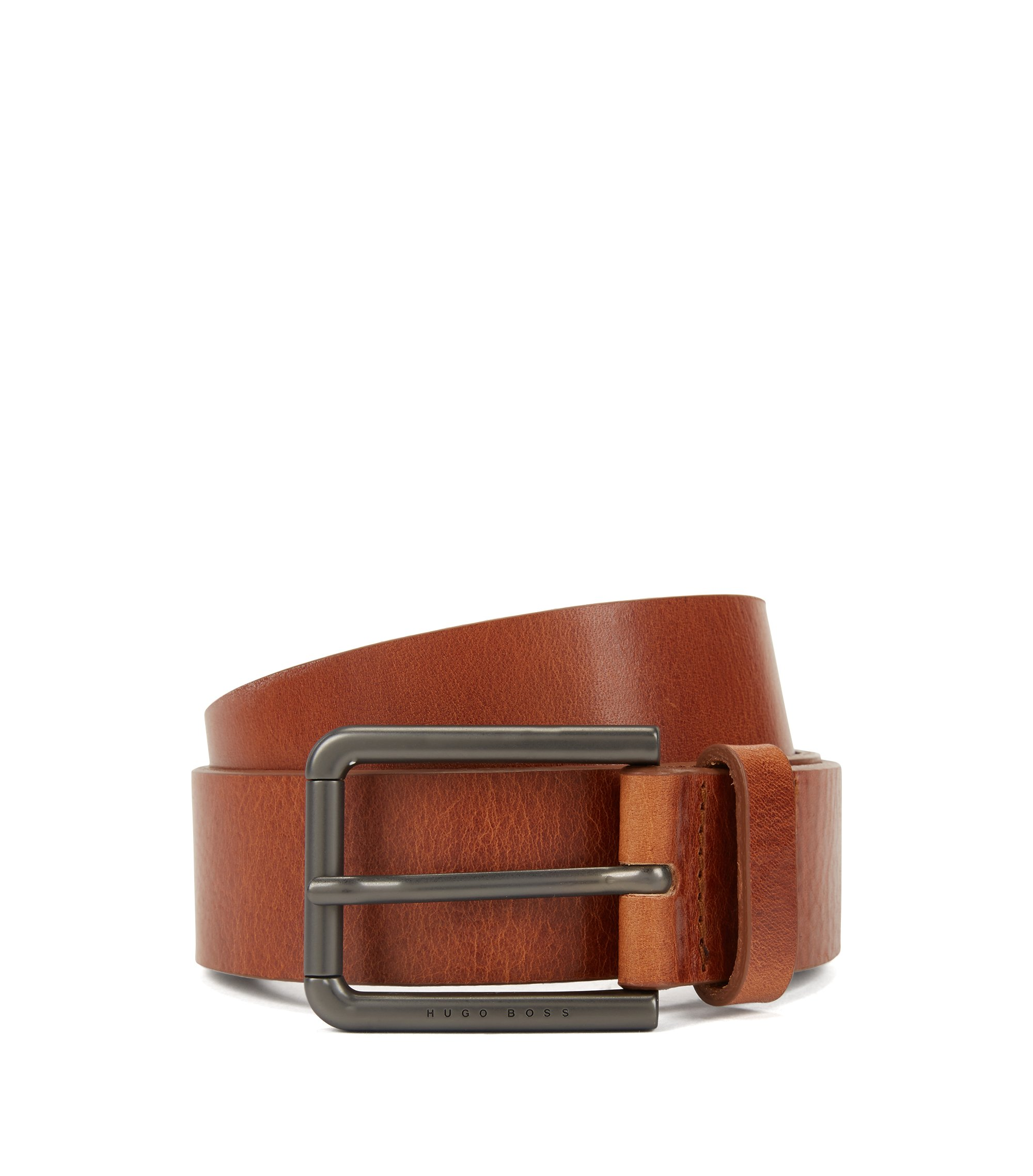 Italian leather belt with gunmetal roller buckle, Brown