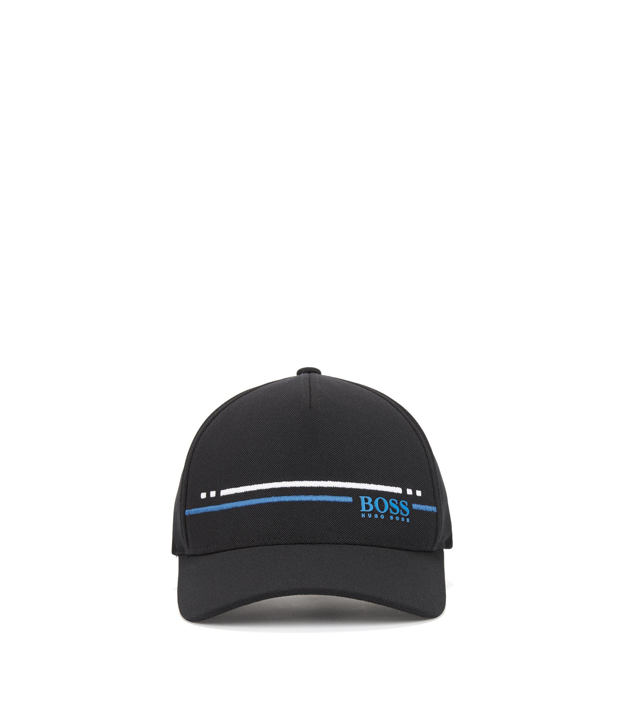 Piqué-mesh baseball cap with embroidered stripe , Black