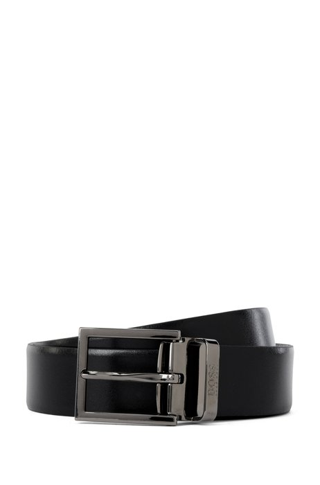 Reversible leather belt with removable buckle, Black