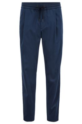 Tapered-fit pants in a stretch-cotton blend, Dark Blue