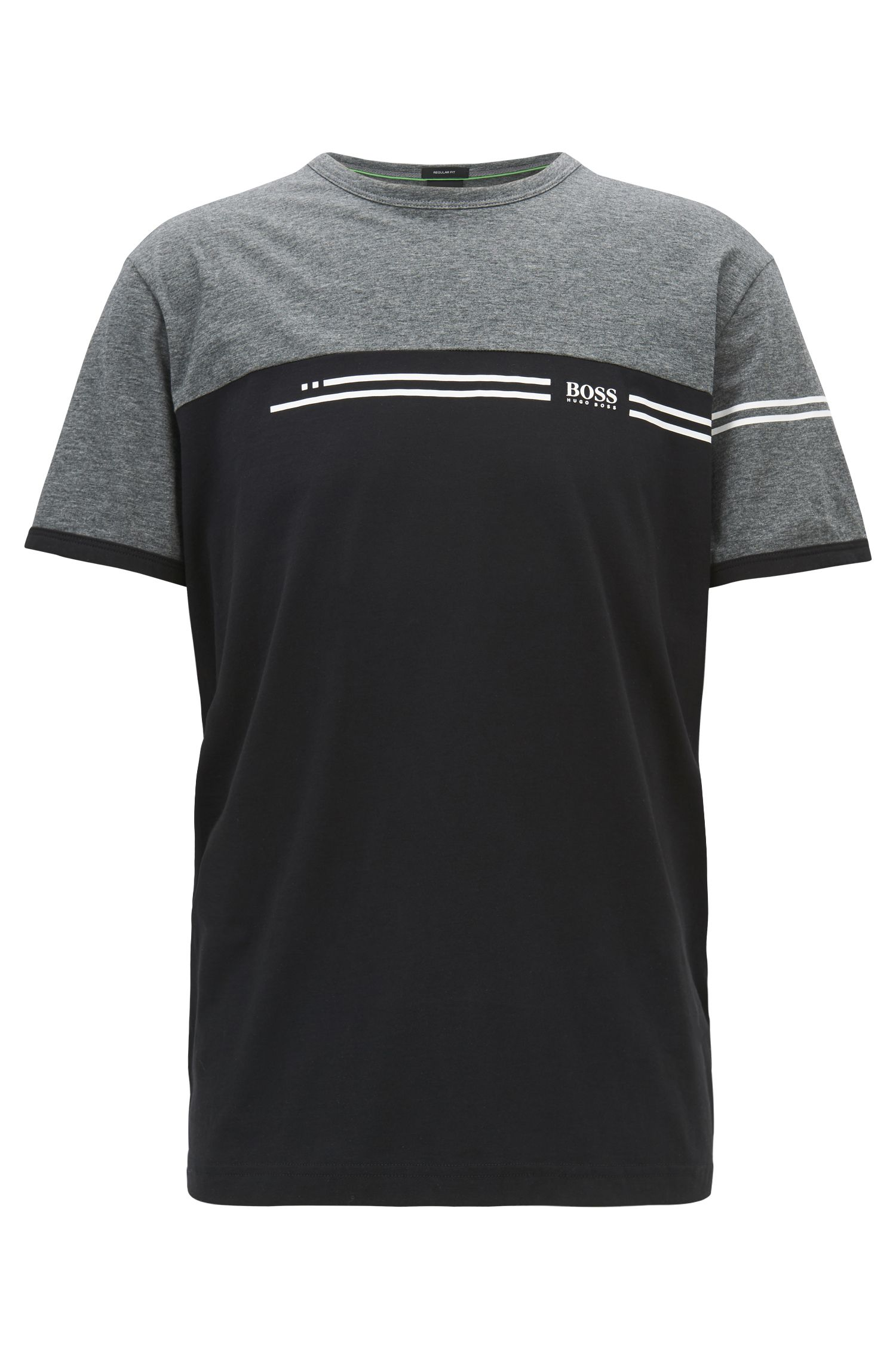 Color-block cotton T-shirt with logo print, Grey