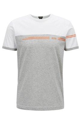 Color-block cotton T-shirt with logo print, White