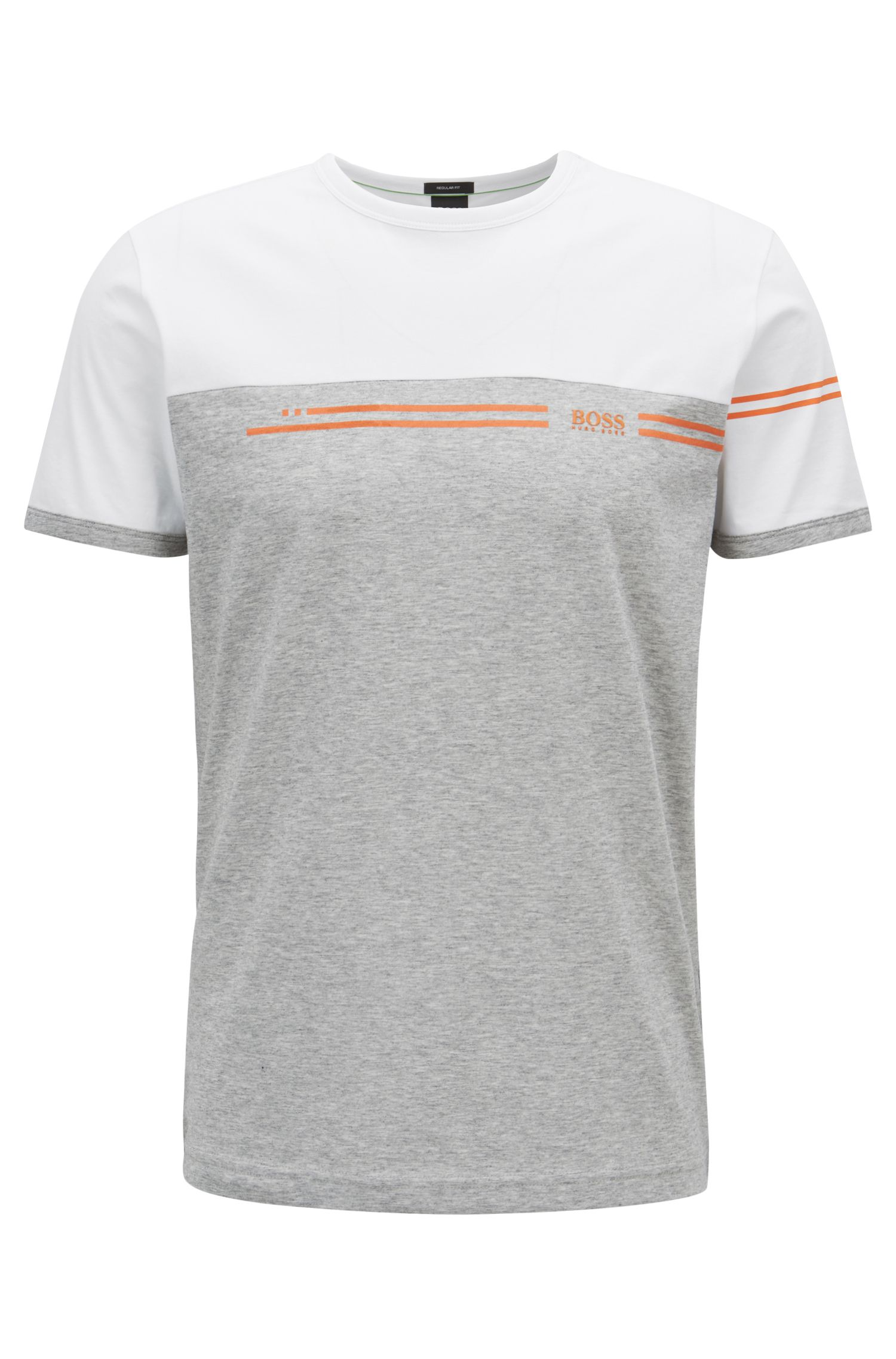 Color-block cotton T-shirt with logo print