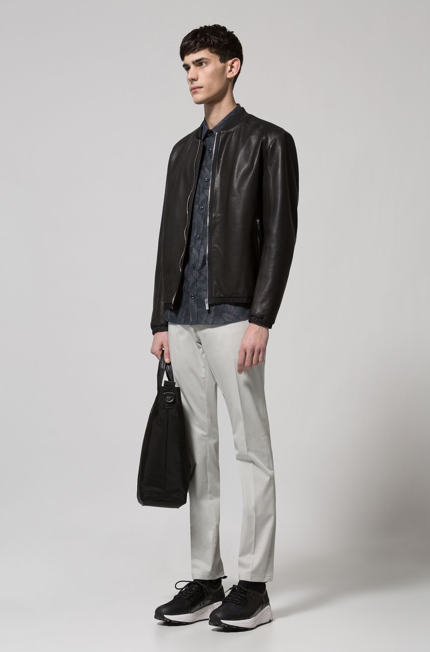 Regular-fit bomber jacket in calfskin
