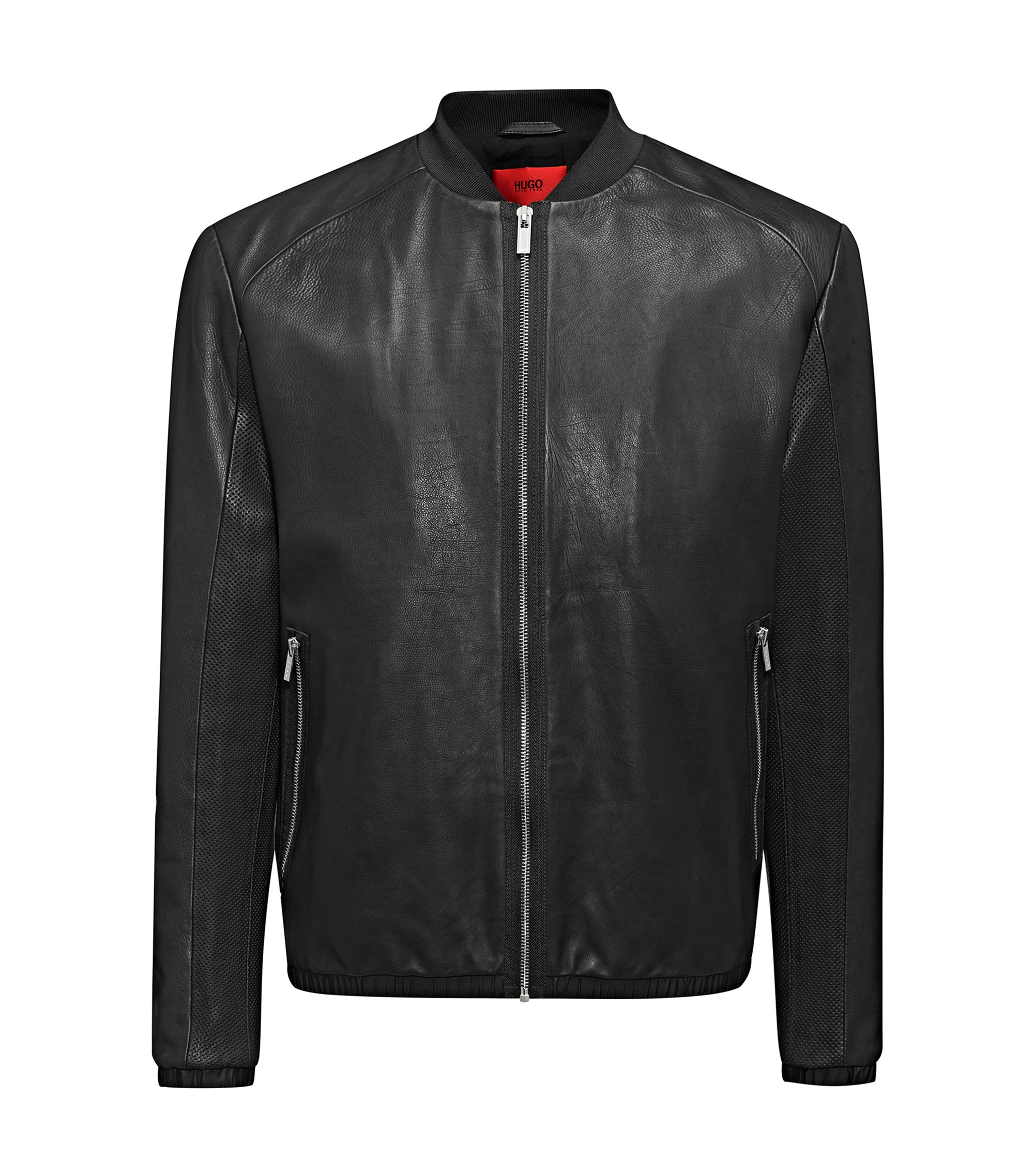 Regular-fit bomber jacket in calfskin, Black