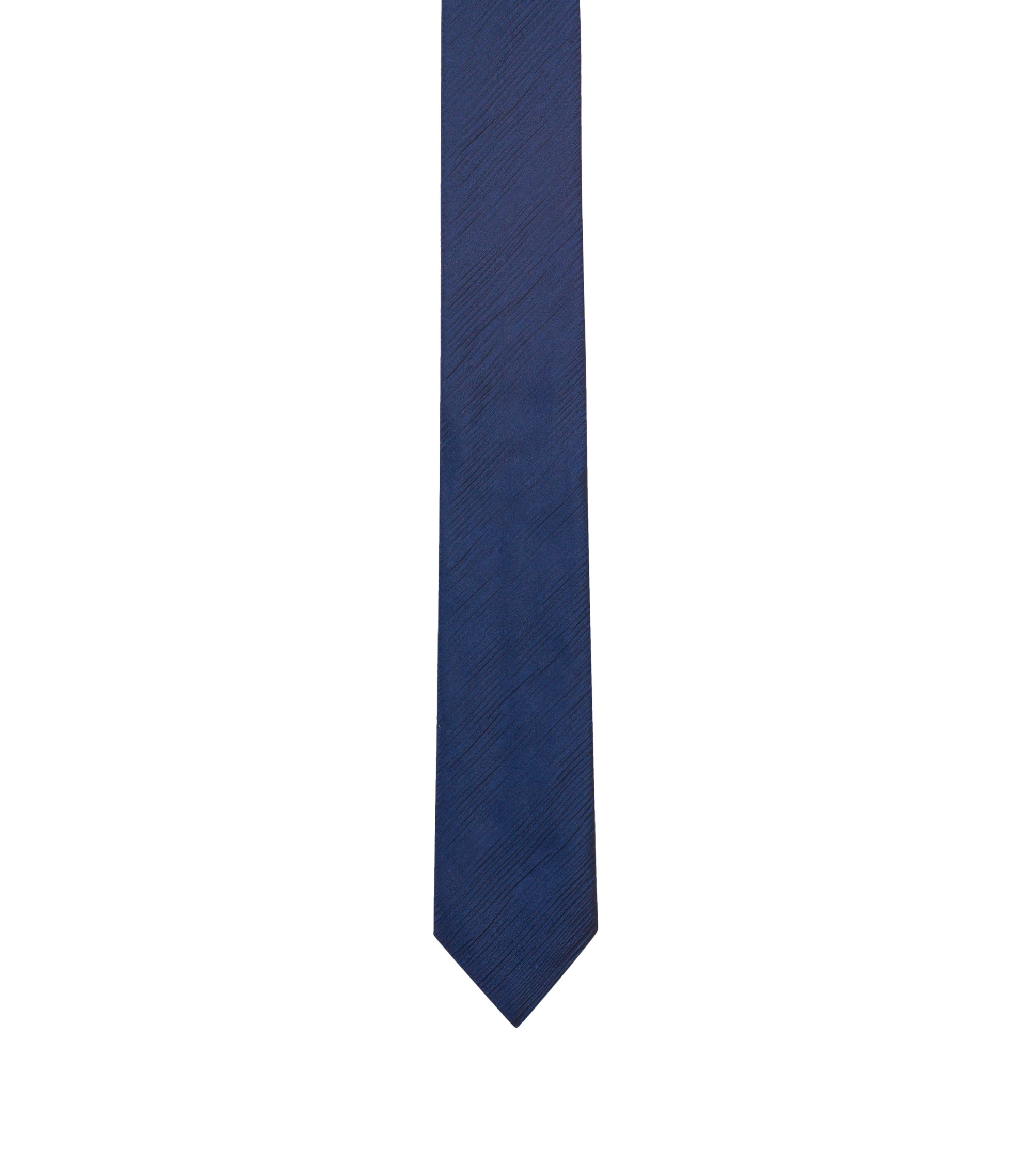 Silk-blend tie with rippled texture, Dark Blue