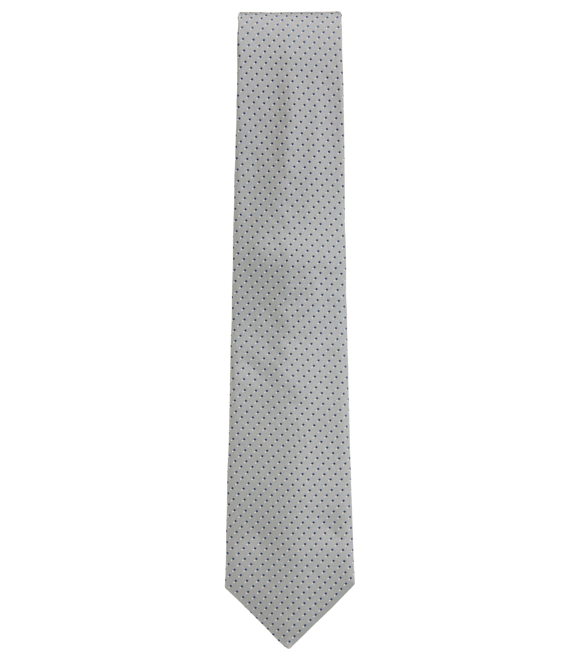 Italian-made patterned tie in silk jacquard, Open Grey