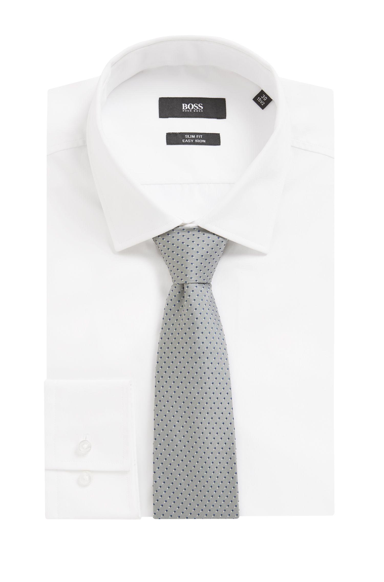 Italian-made patterned tie in silk jacquard, Open Grey