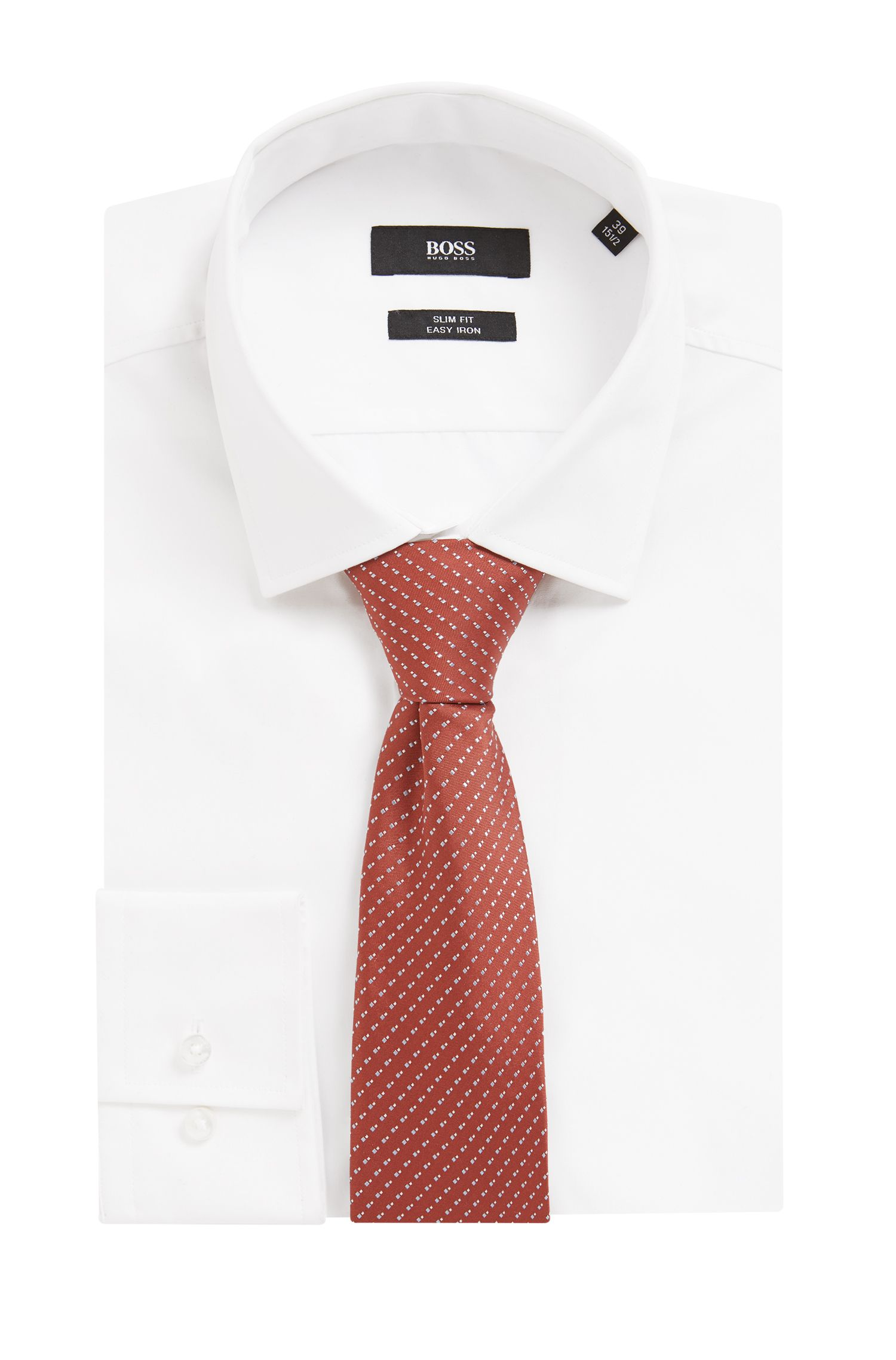 Italian-made patterned tie in silk jacquard, Red
