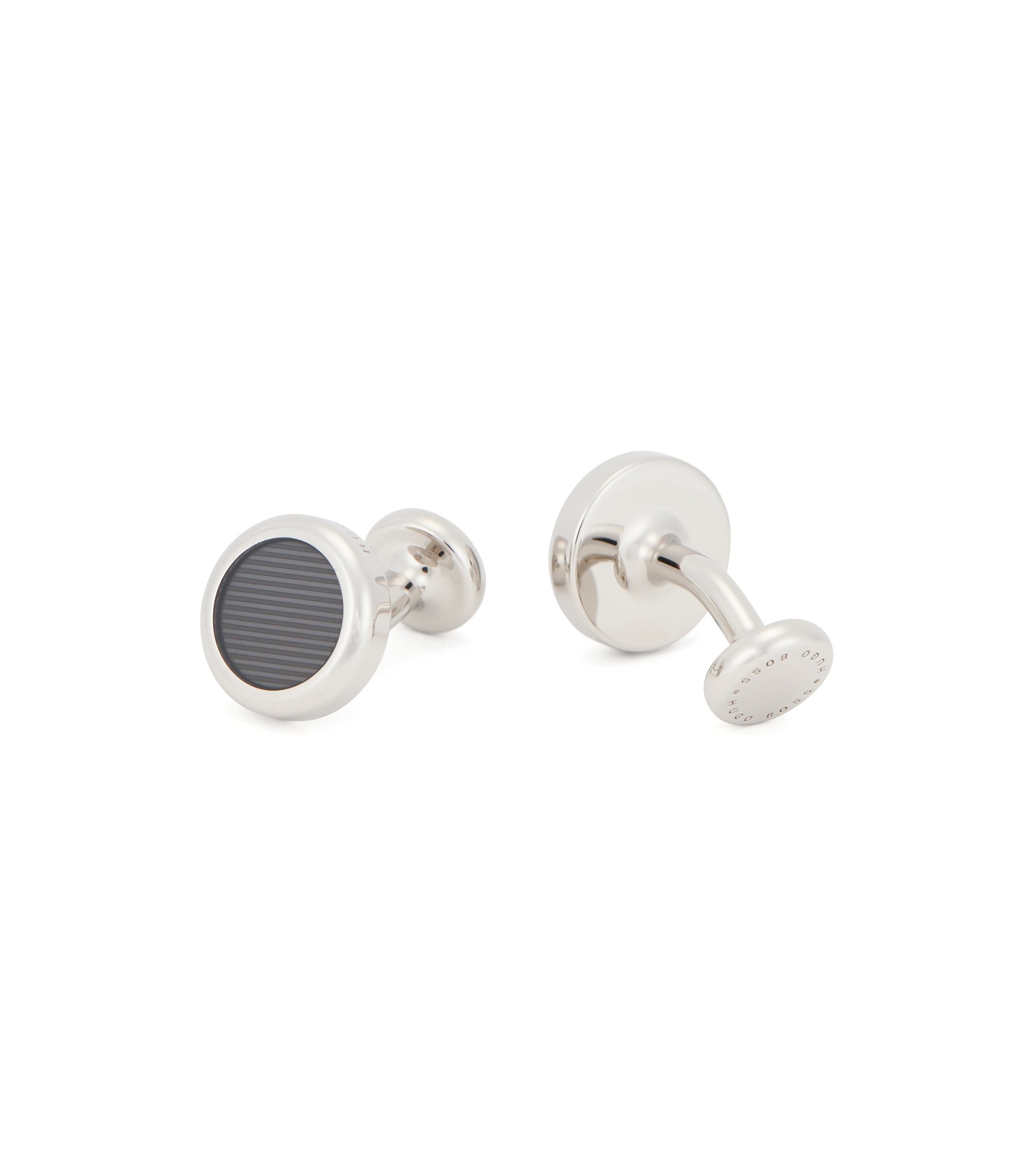 Round cufflinks in brass with striped enamel detail, Grey