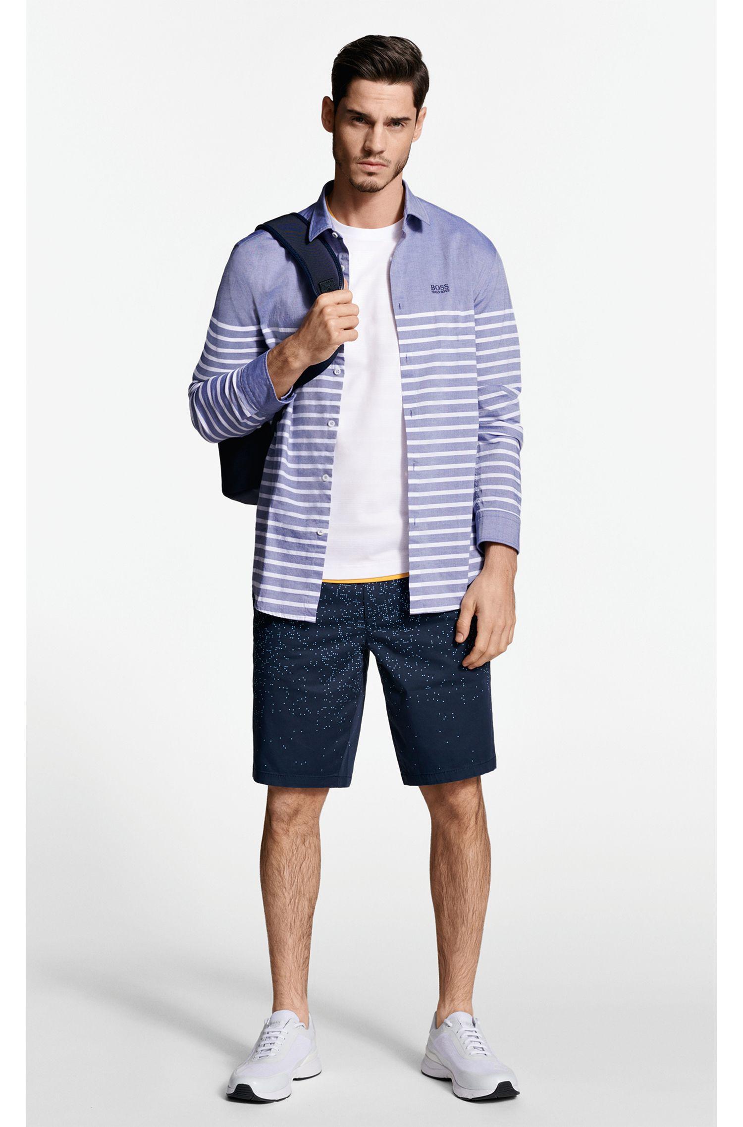 Digitally printed slim-fit shorts in stretch cotton, Dark Blue