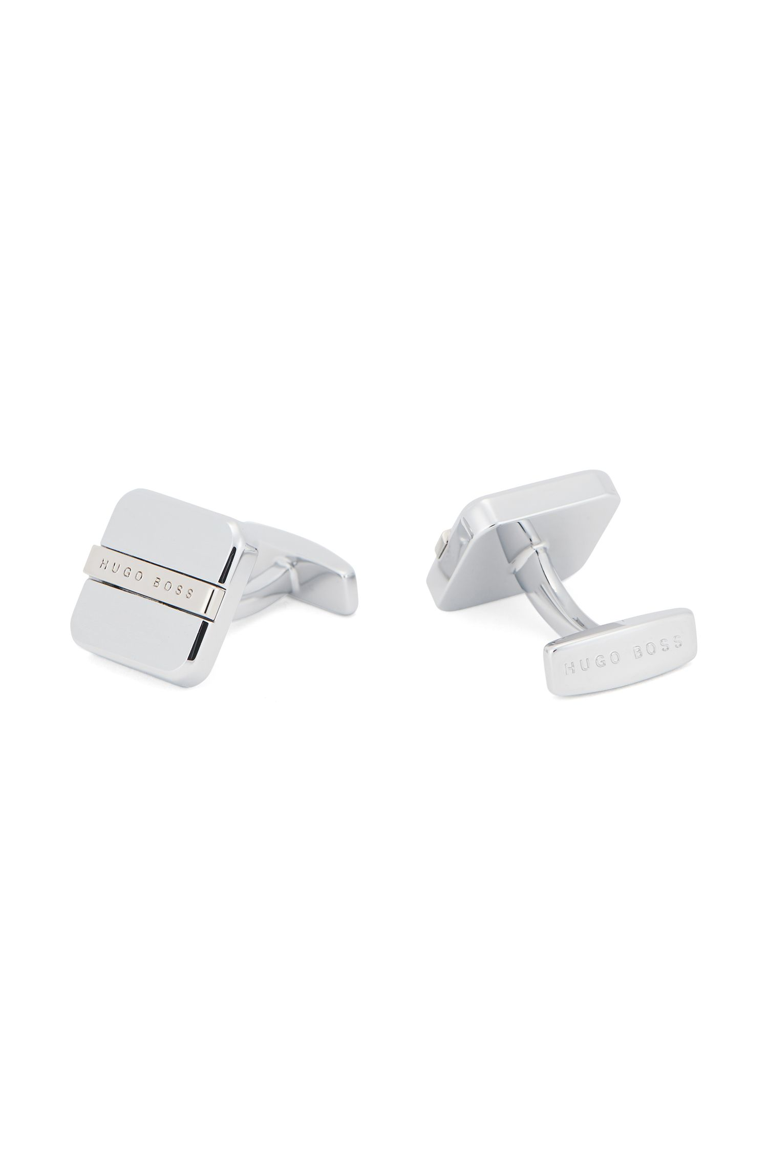 Square cufflinks with soft edges and engraved logo