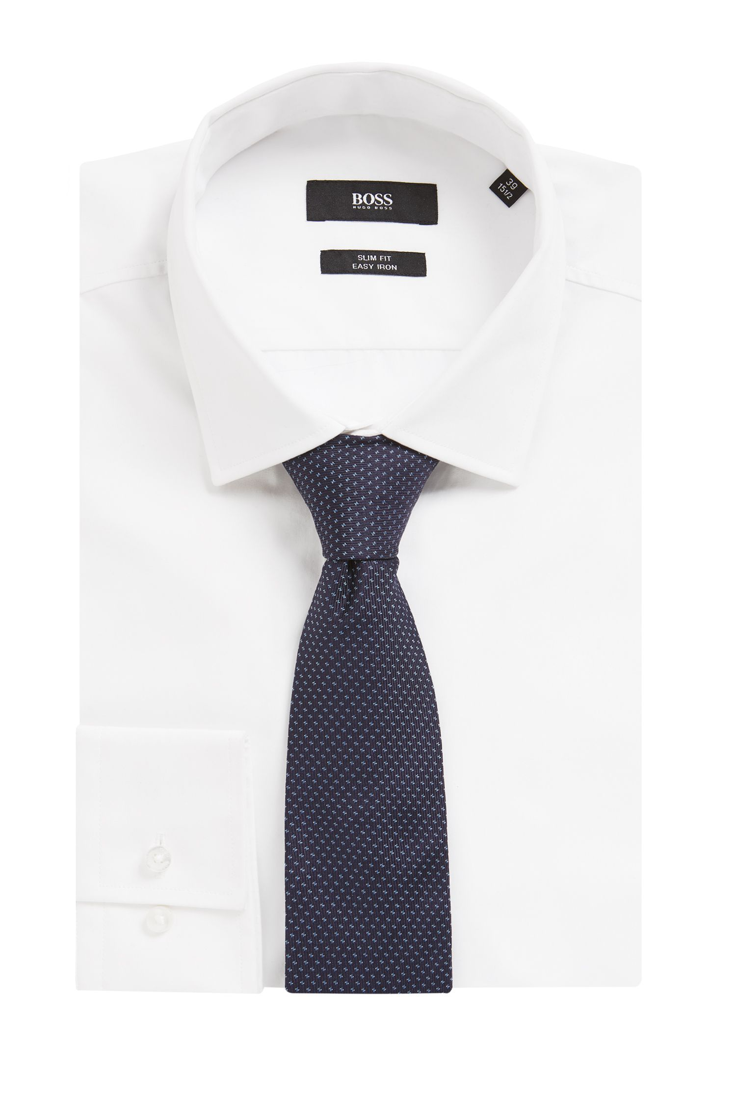 Italian-made patterned tie in silk jacquard, Dark Blue