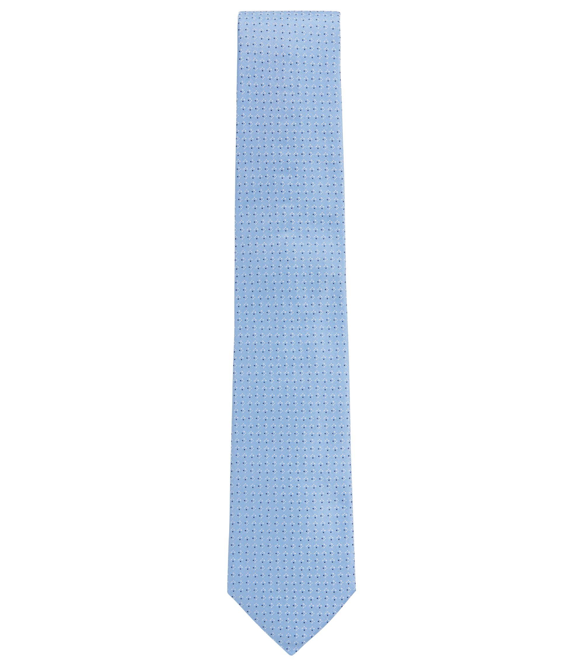 Italian-made patterned tie in silk jacquard, Light Blue