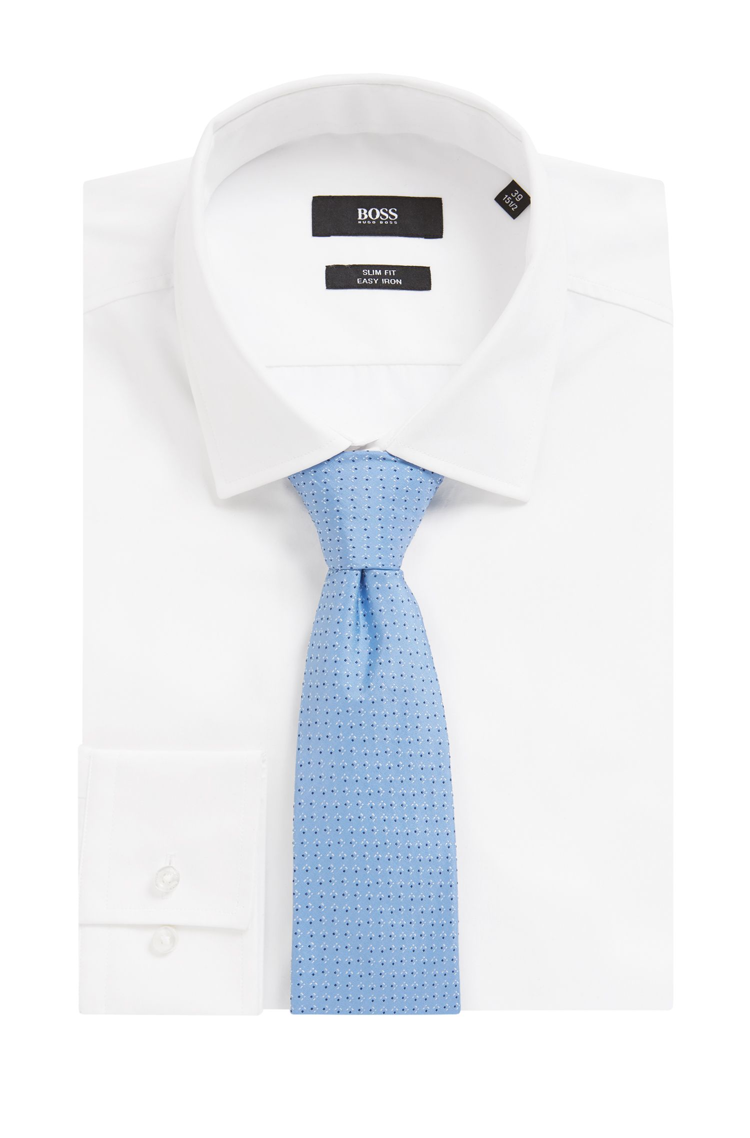 Italian-made patterned tie in silk jacquard, Light Blue