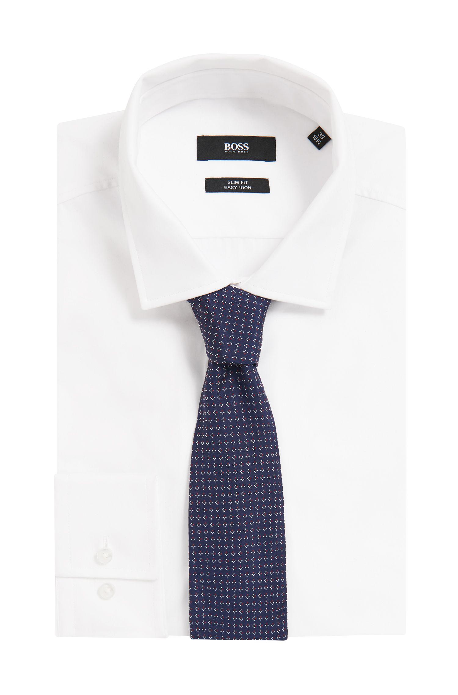 Italian-made patterned tie in silk jacquard, Open Blue