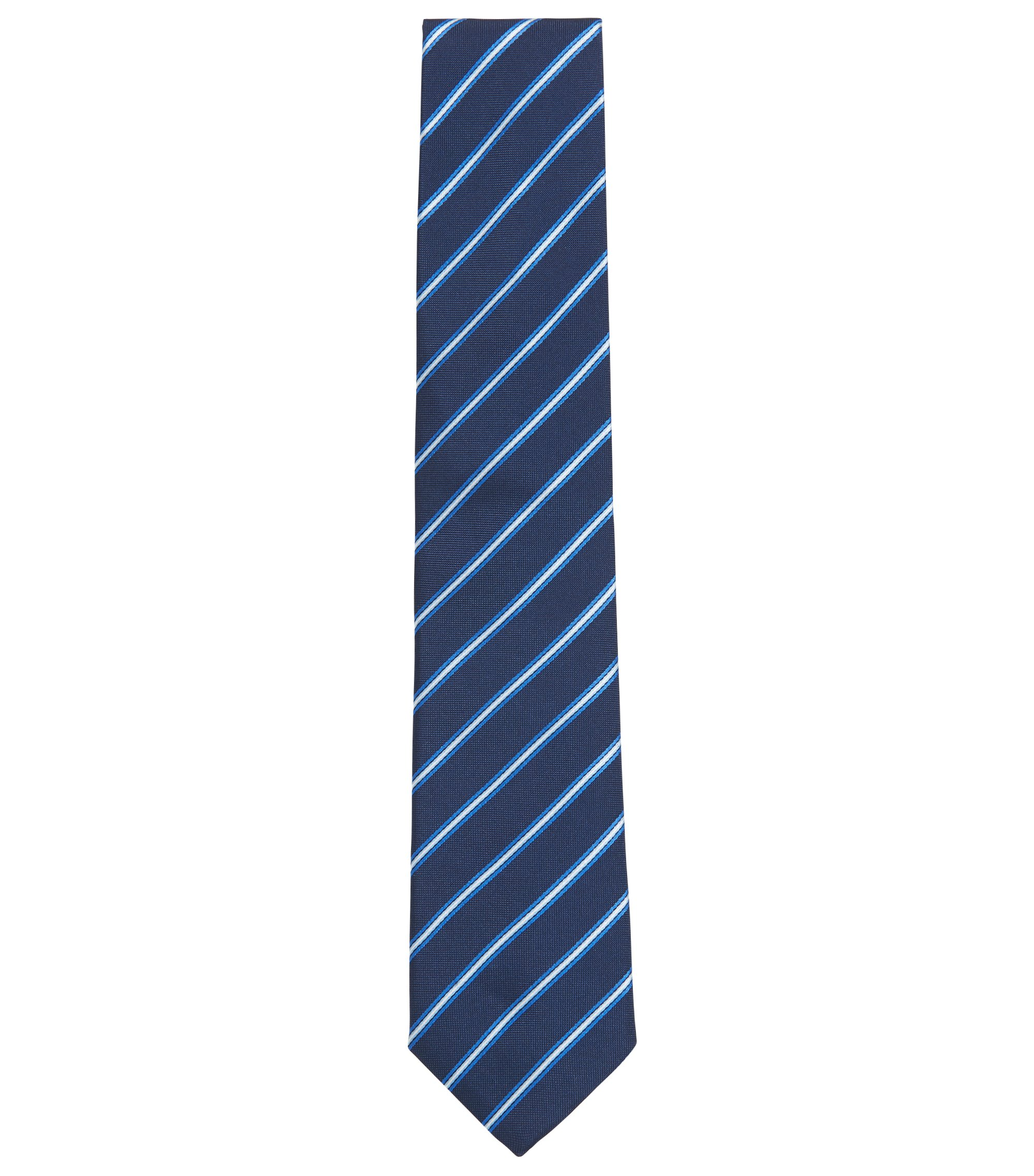 Striped Italian-made silk-jacquard tie, Open Blue