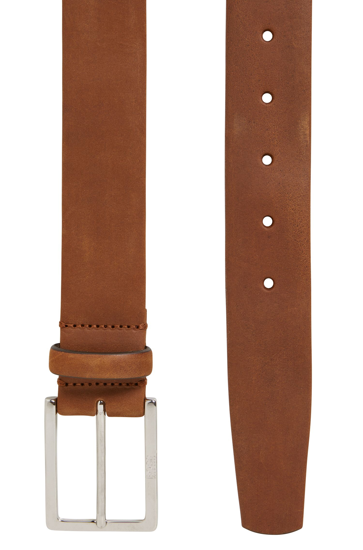 Nubuck leather belt with soft tubular construction, Brown