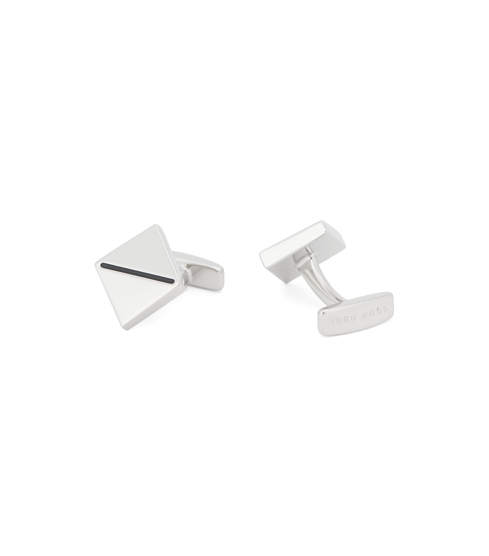 Architectural cufflinks with enamel stripe, Black