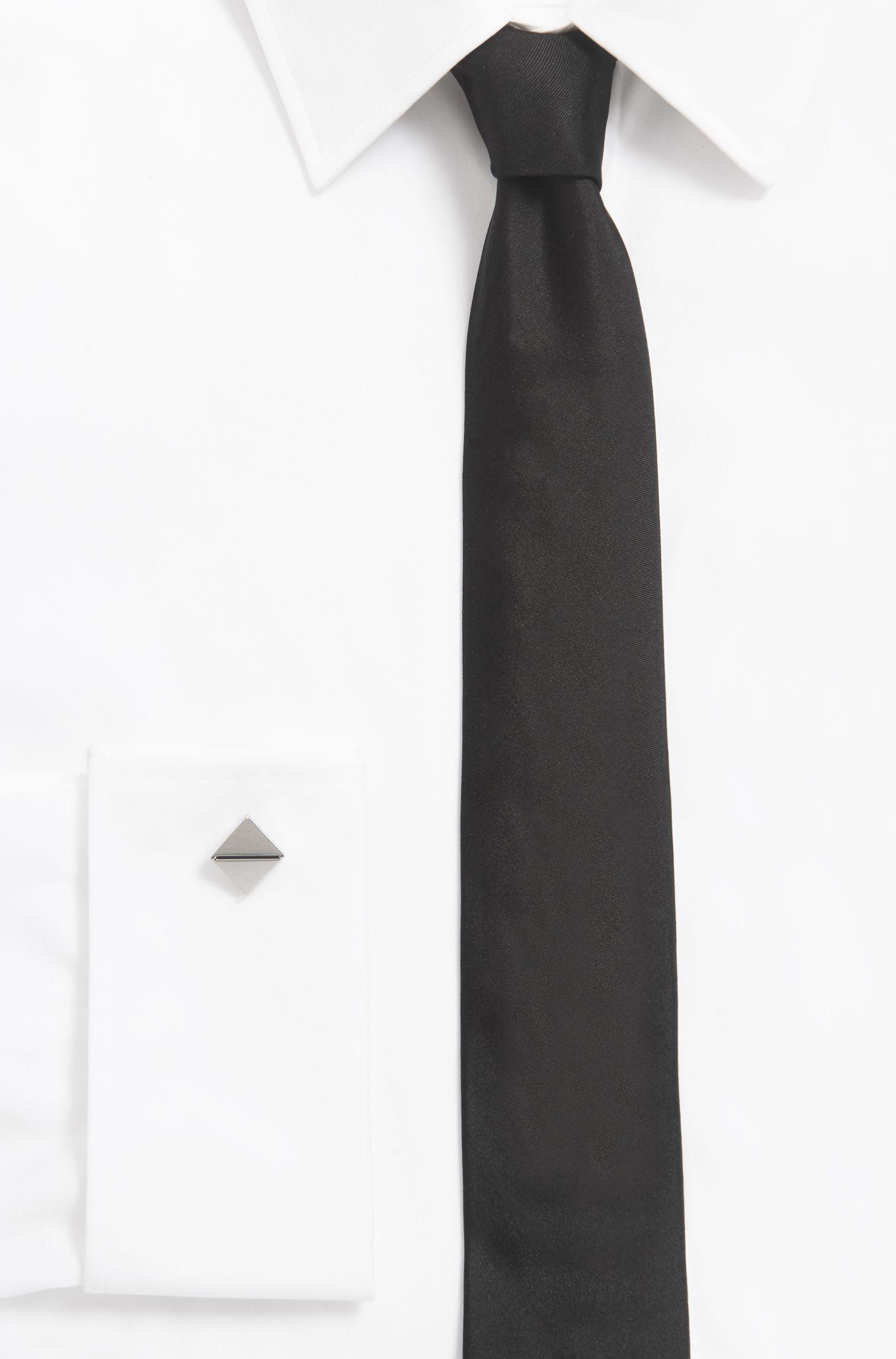 Architectural cufflinks with enamel stripe, Black